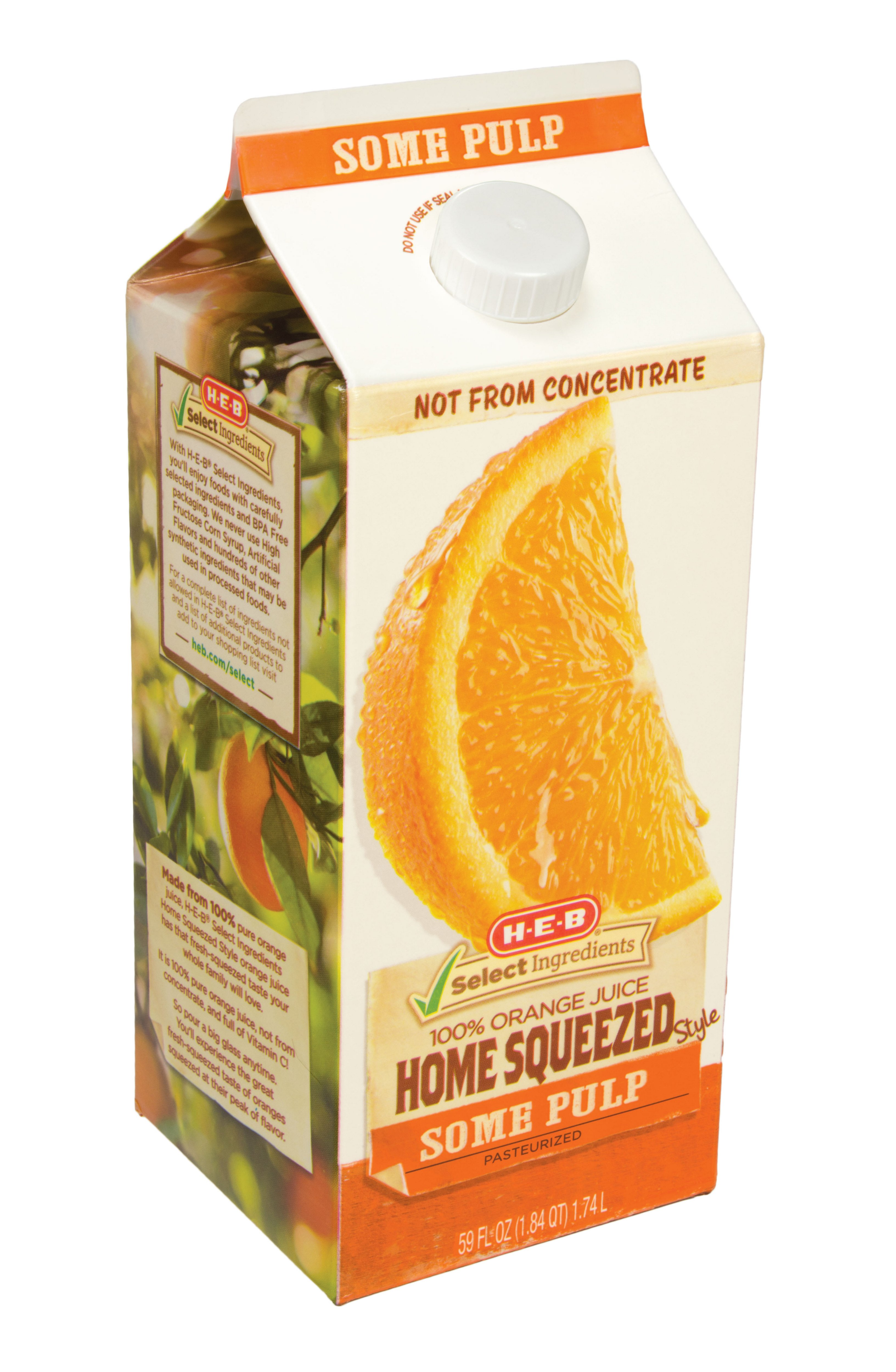 h e b select ingredients home squeezed some pulp orange juice shop