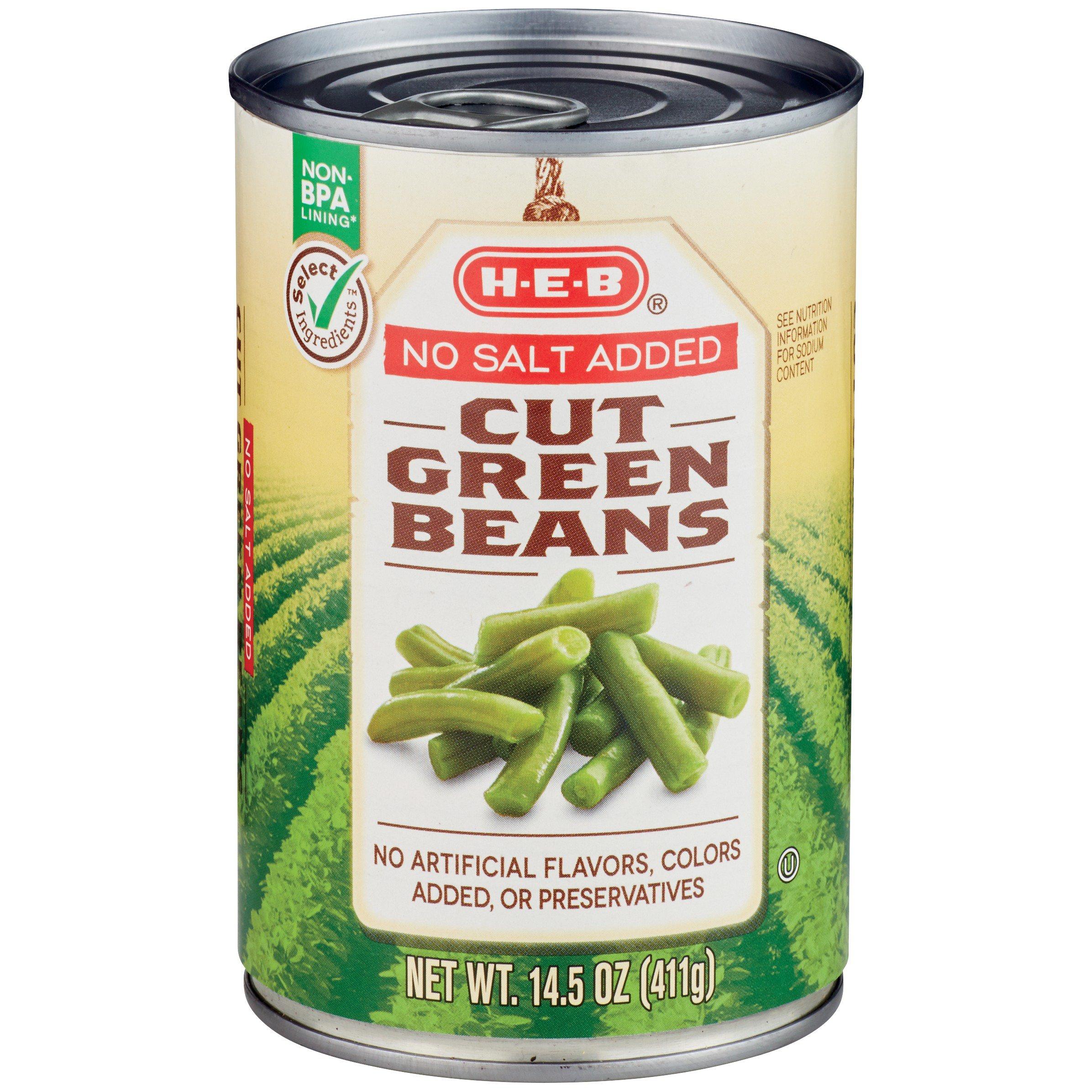 H E B Select Ingredients No Salt Added Cut Green Beans Shop Vegetables At H E B