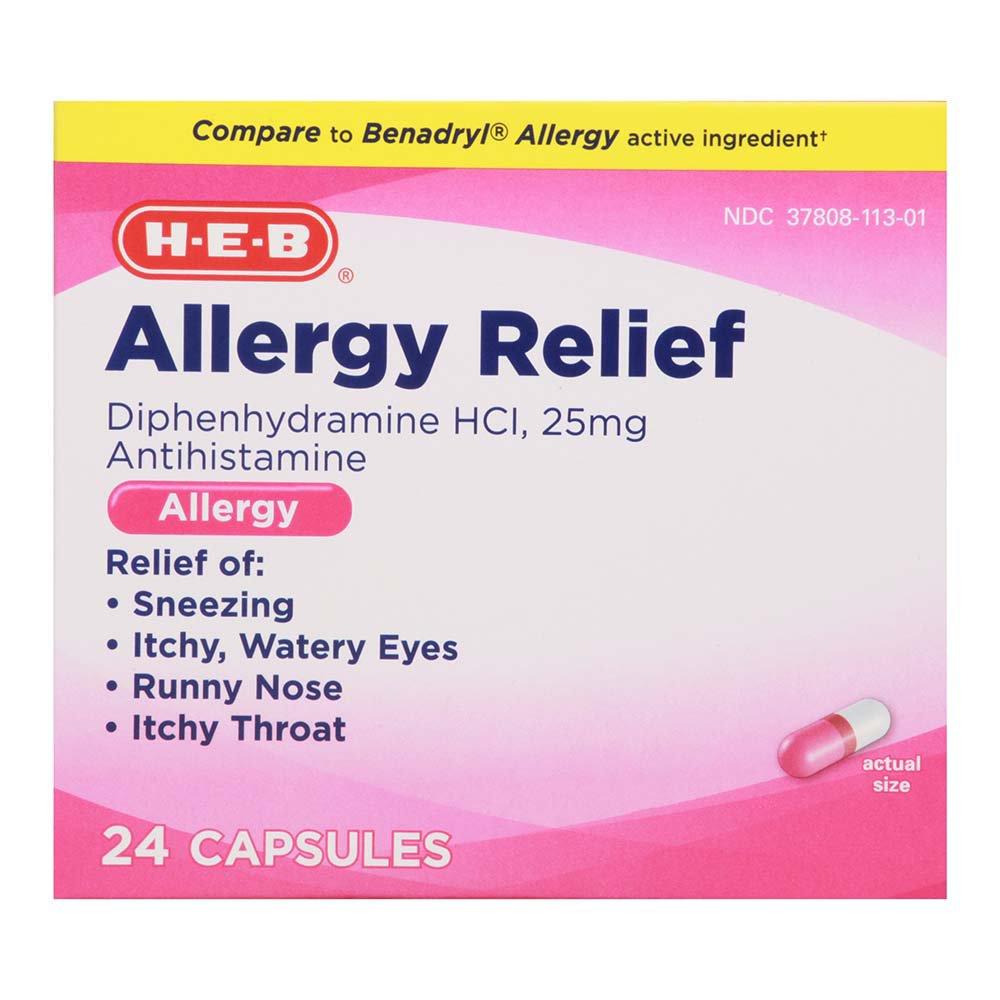 H-E-B Allergy Relief Diphenhydramine 25 mg Antihistamine Capsules - Shop  Sinus & Allergy at H-E-B