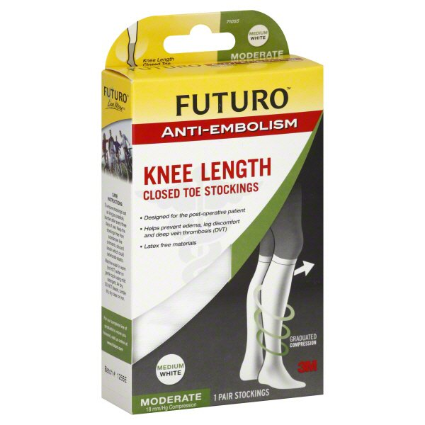 Futuro Anti Embolism Knee Length Closed Toe Stockings Medium White Moderate Compression Shop Socks Hose At H E B
