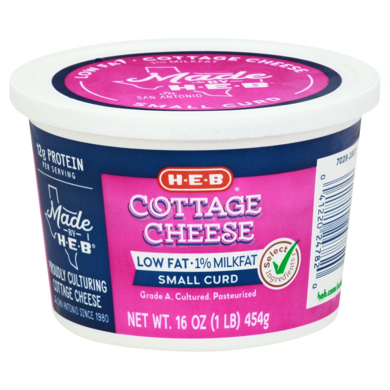 h u2011e u2011b low fat 1 milkfat cottage cheese u2011 shop cottage cheese at h u2011e u2011b rh heb com fat content in cottage cheese fat free cottage cheese aldi