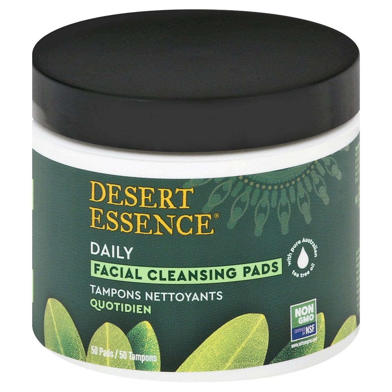Natural Facial Cleansing Pads with Tea Tree Oil - 50 Pad(s) by Desert Essence (pack of 3) Black Soap Facial Cleanser - 8 fl. oz. by Dr. Woods (pack of 4)