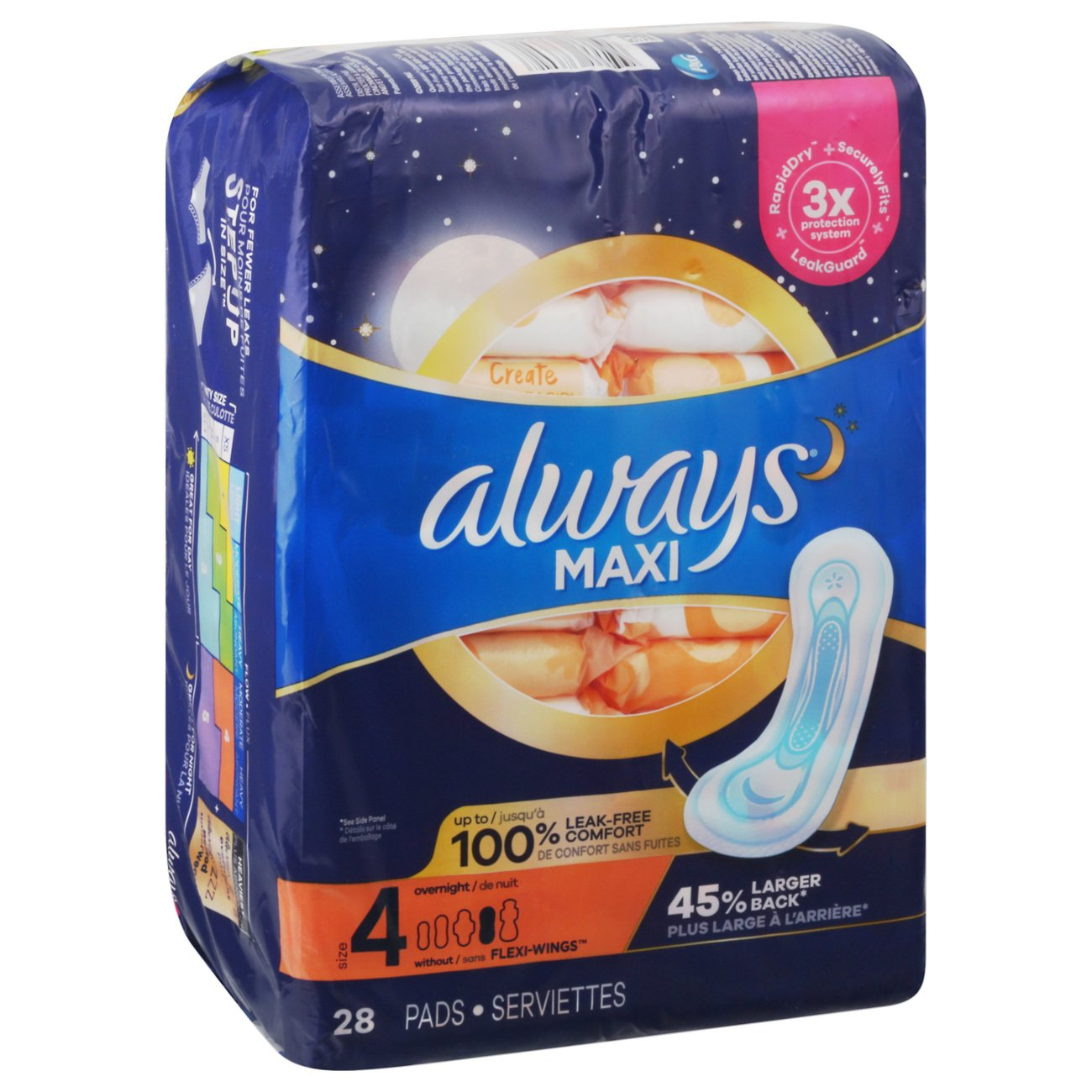 Always Maxi Overnight Pads ‑ Shop Pads & Liners at H‑E‑B