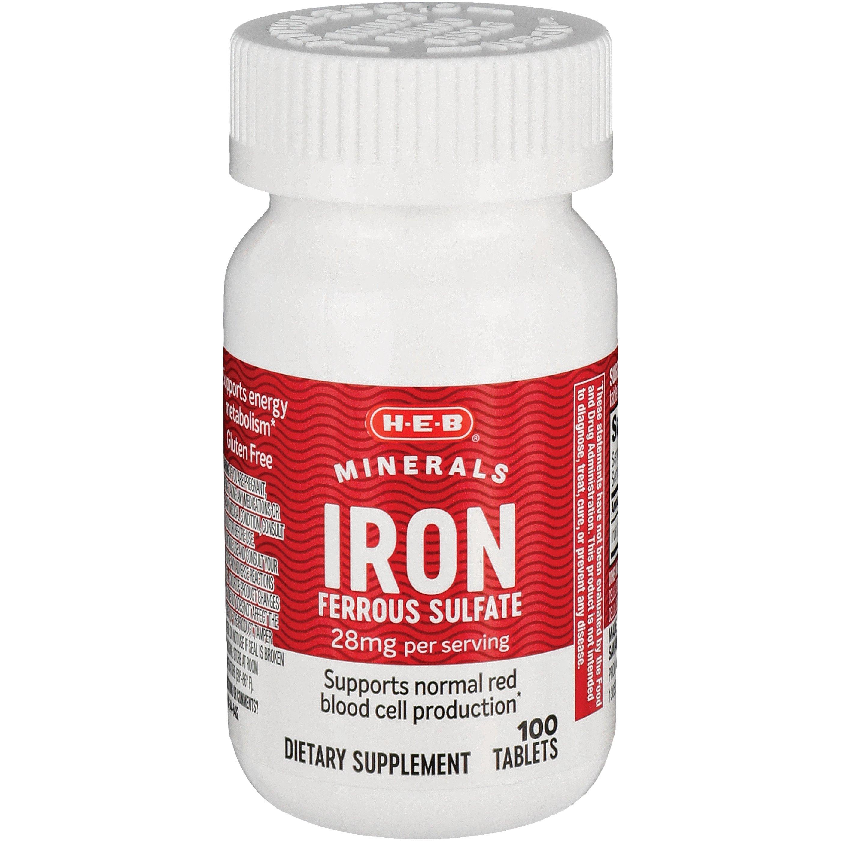 H E B Iron 28 Mg Tablets