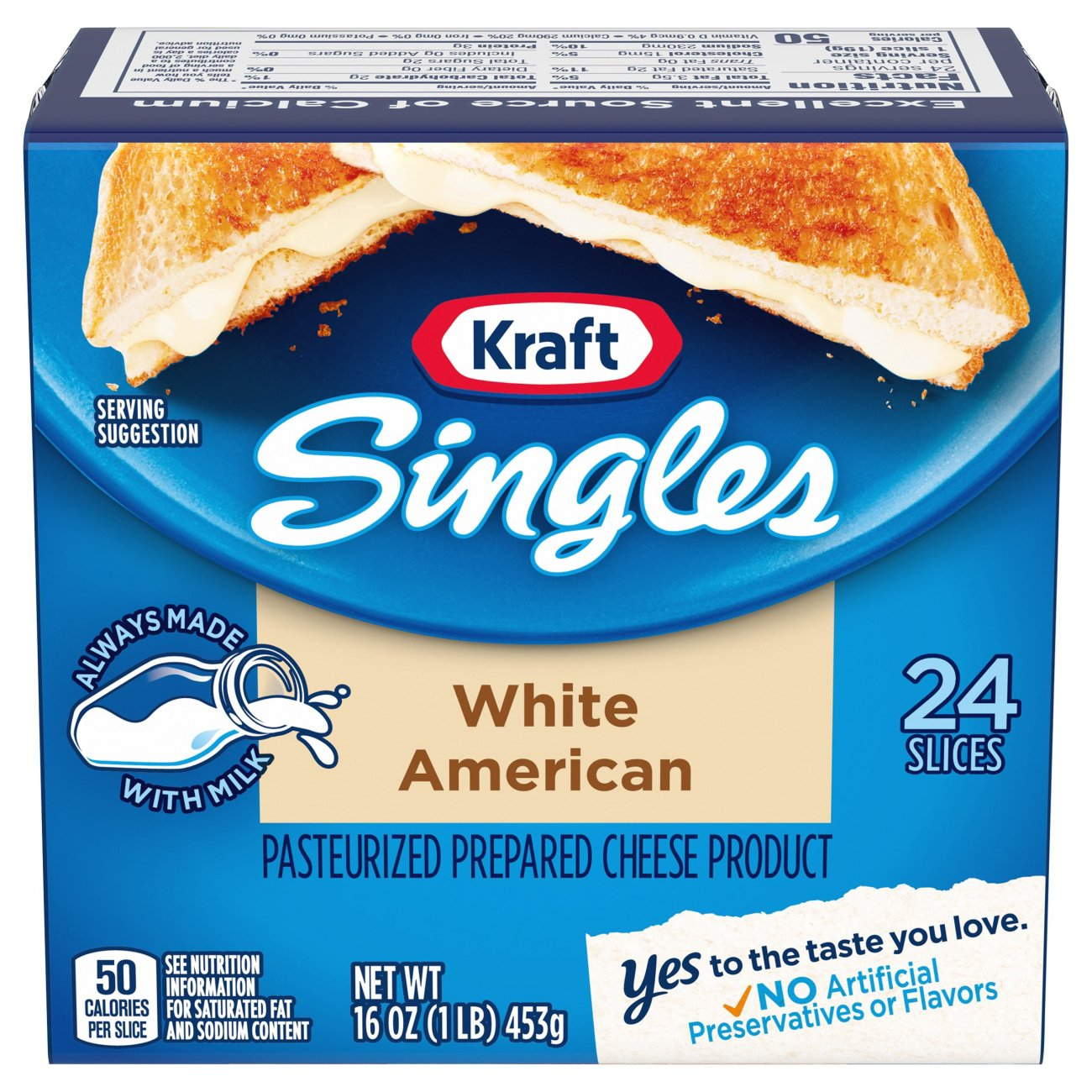 kraft singles american cheese nutrition facts