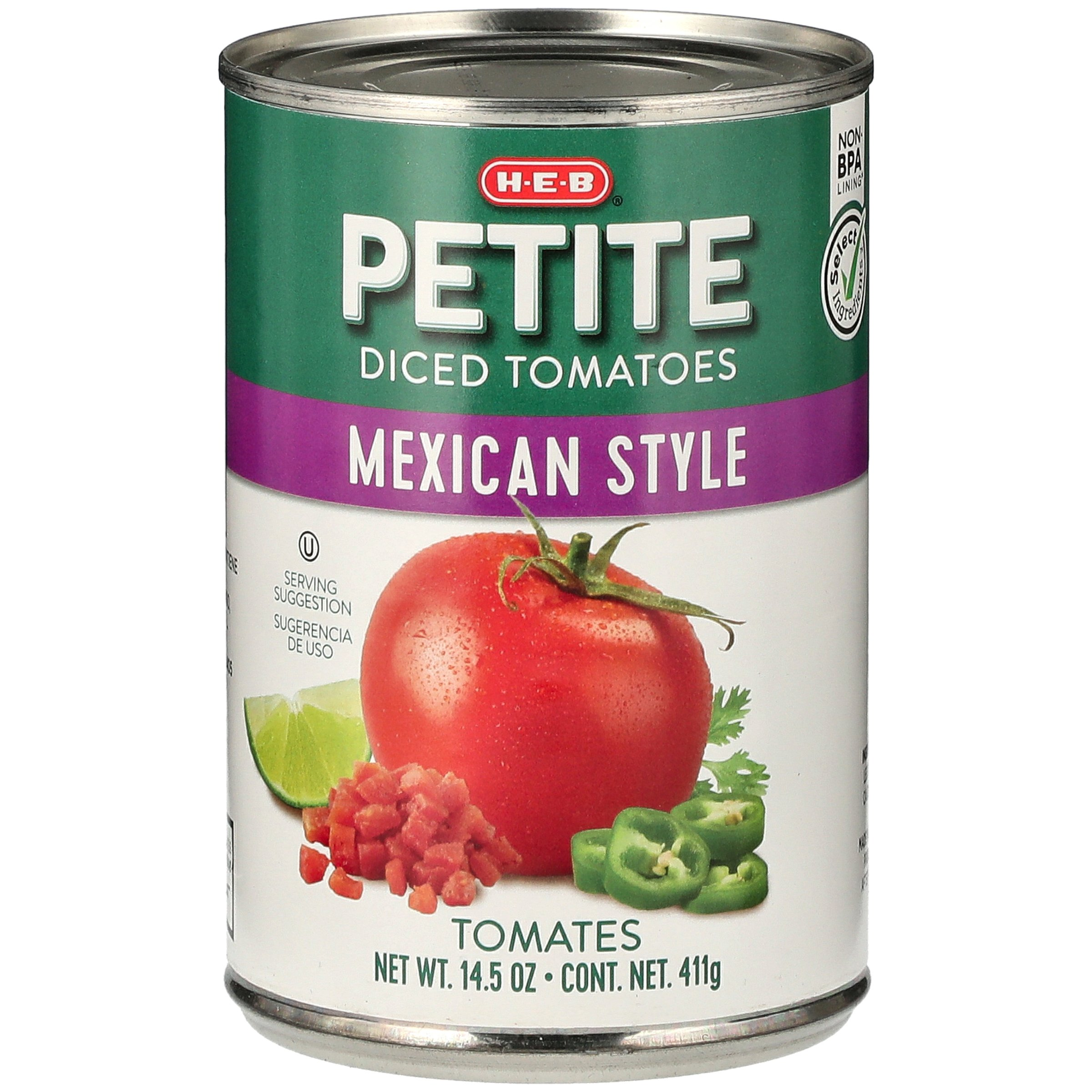 H E B Select Ingredients Mexican Style Petite Diced Tomatoes Shop Vegetables At H E B