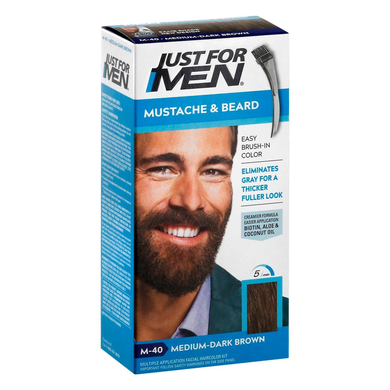 Just For Men Mustache & Beard Medium-Dark Brown M-40 Brush-In Color ...