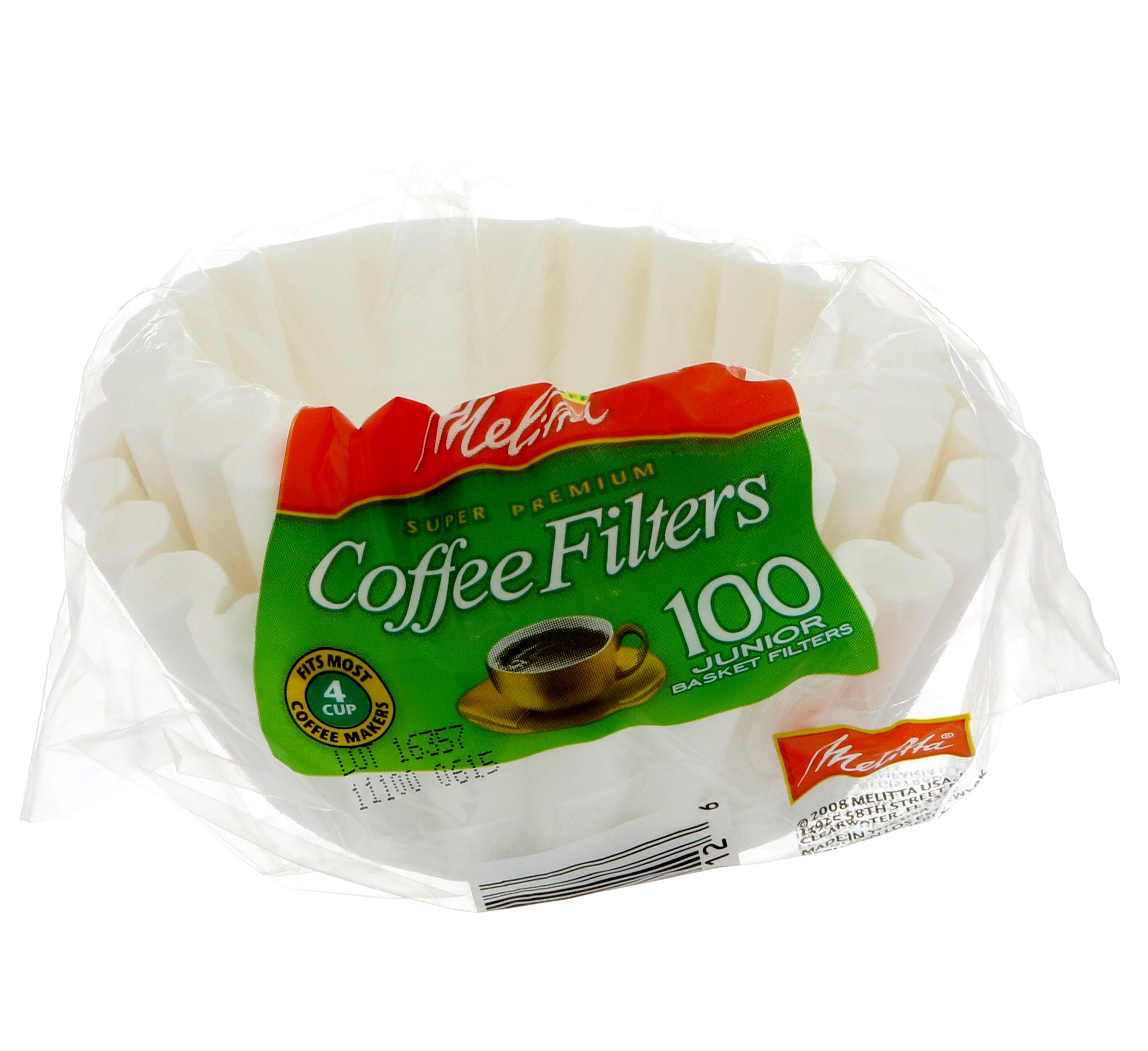 Melitta  4-6 cups cups Basket  Coffee Filter  100 count