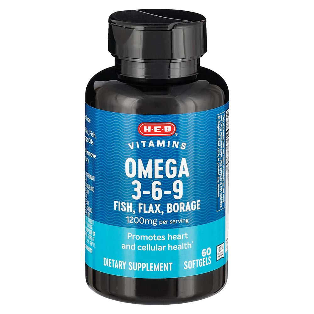 H E B Omega 3 6 9 Fish Flax Borage 1200 Mg Softgels Shop Diet