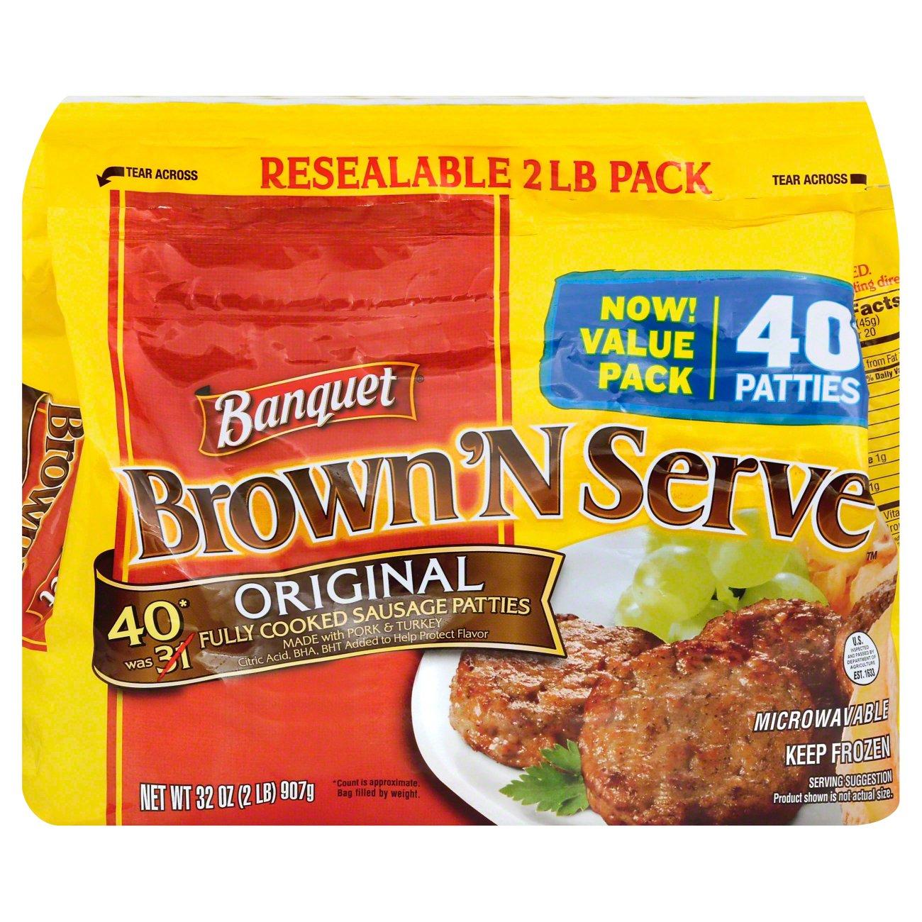 Banquet Brown N Serve Fully Cooked Original Sausage Patties Breakfast At Heb
