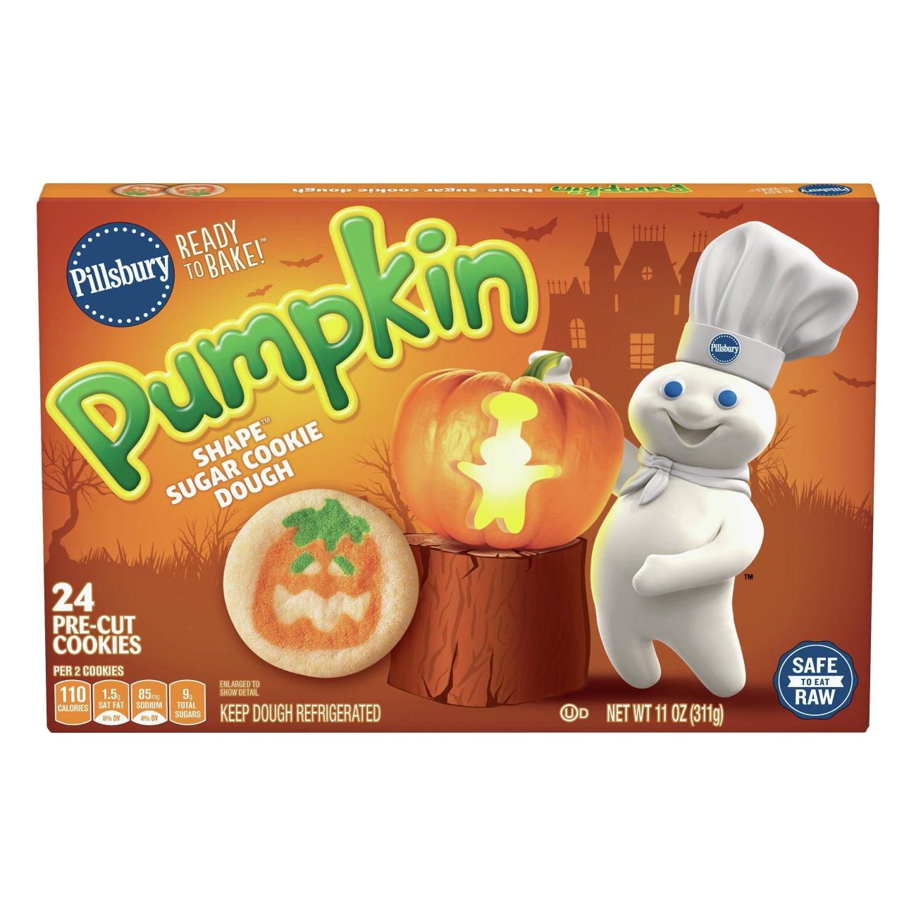 pillsbury ready to bake pumpkin shape sugar cookies shop cookie dough at heb