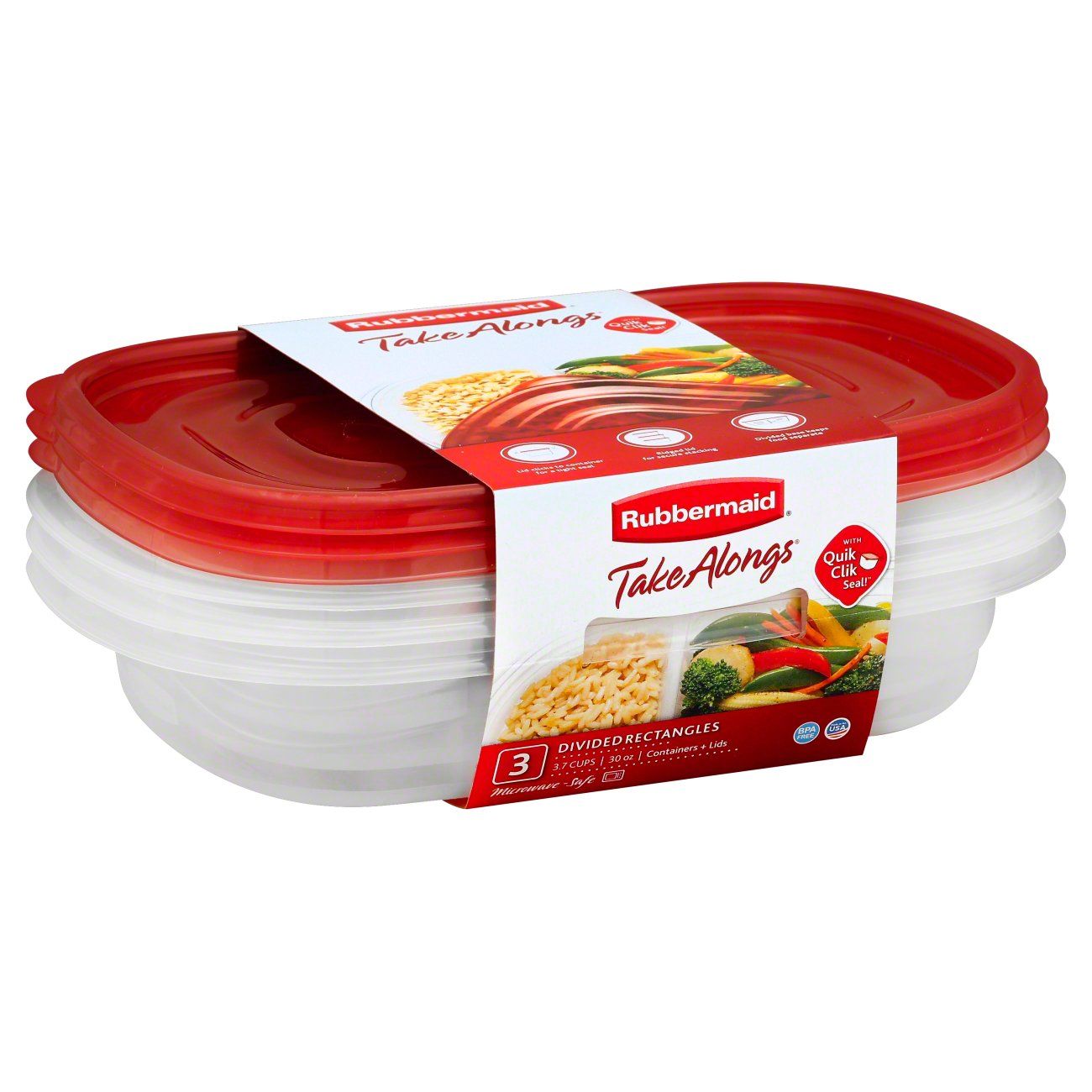 Rubbermaid TakeAlongs Divided Rectangle 37 Cup Food Storage