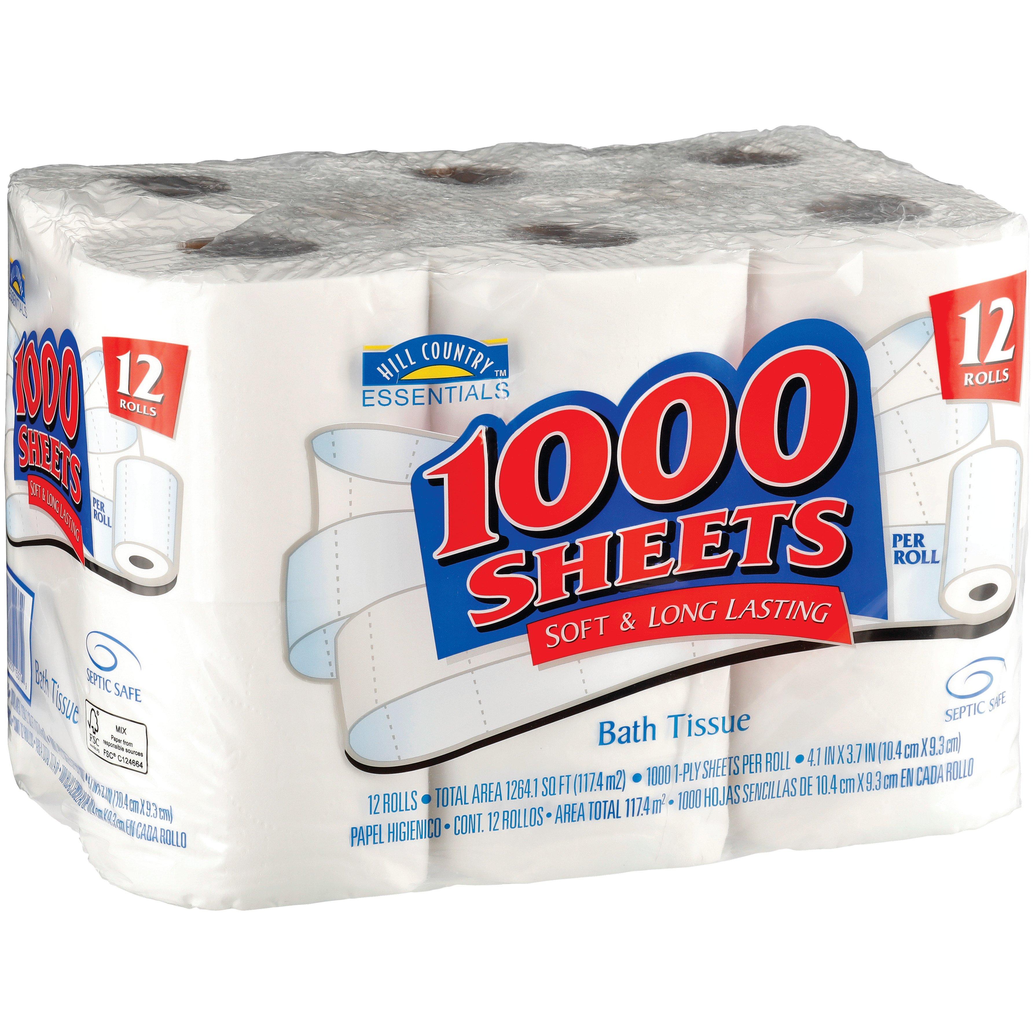 Hill Country Essentials 1000 Sheets Bath Tissue ‑ Shop Bath Tissue ...