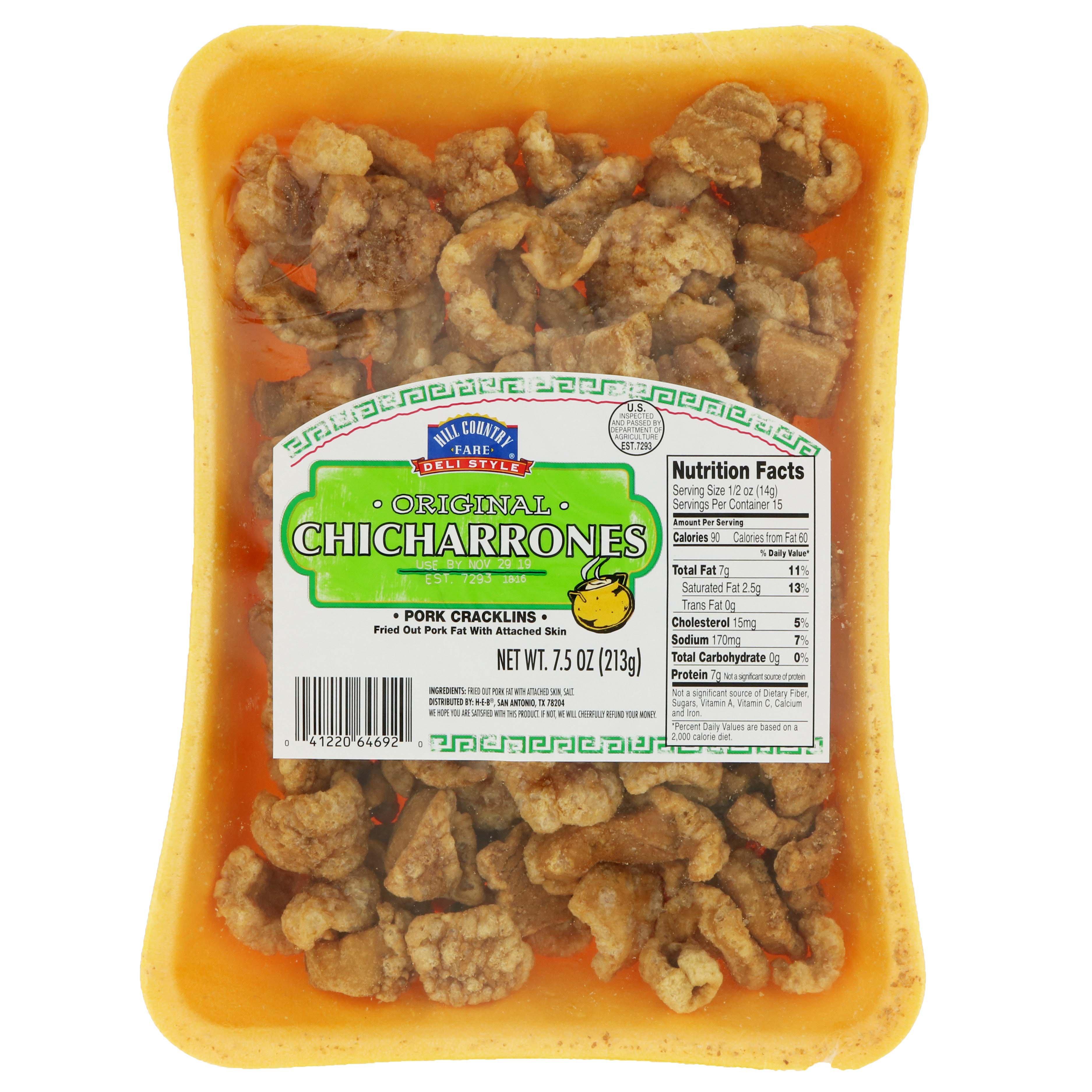 Hill Country Fare Deli Style Original Chicharrones Pork Cracklins Shop Chips At H E B