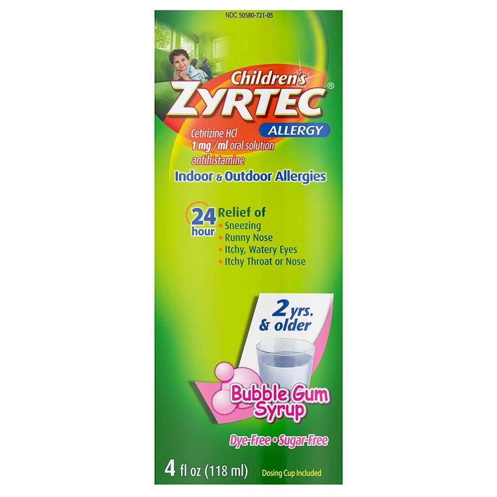 Zyrtec Children S Dye Free Sugar Free Bubble Gum Allergy Syrup Shop Sinus Allergy At H E B