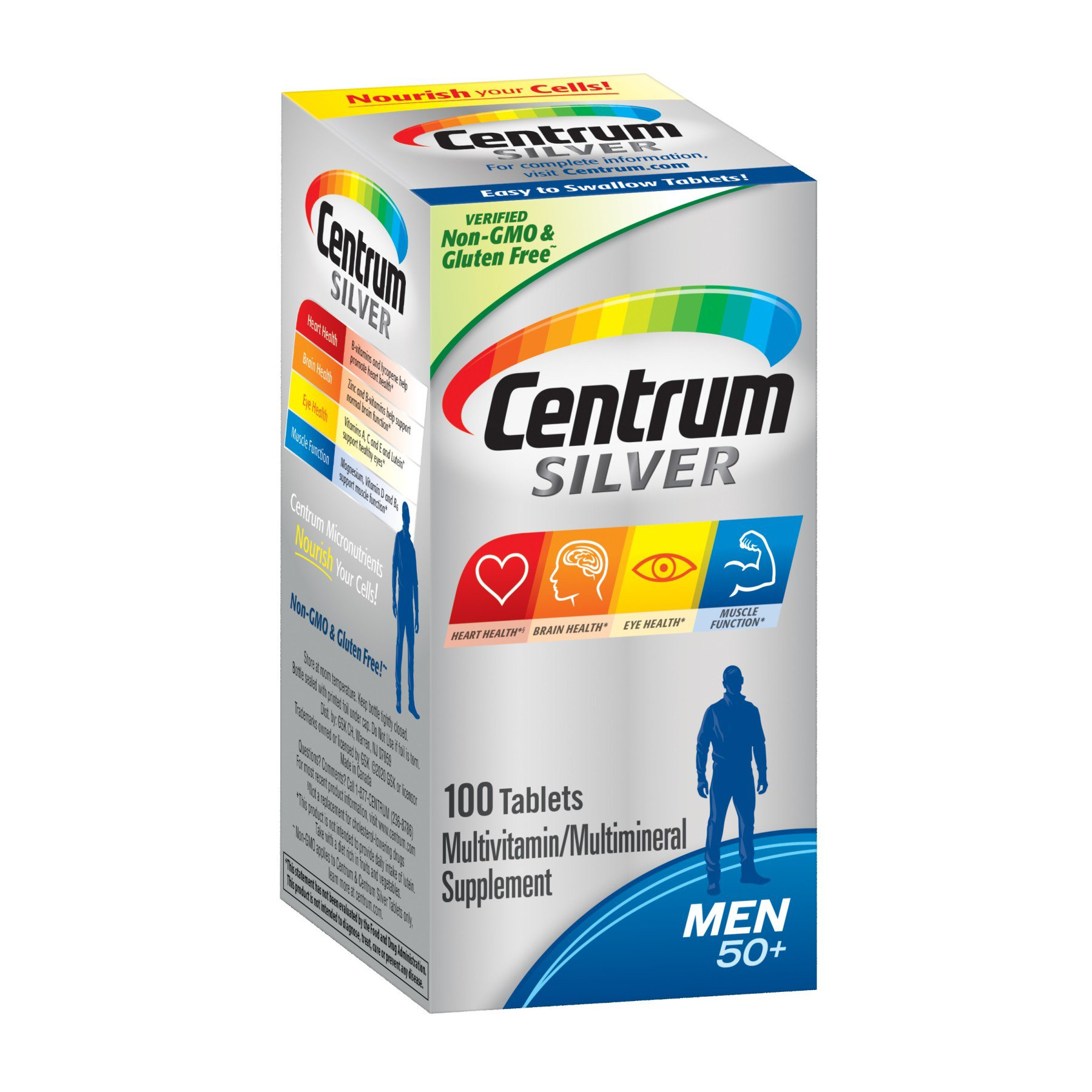 Centrum Silver Multivitamin Multimineral Supplement Personalized For Men 50 Tablets Shop Multivitamins At H E B