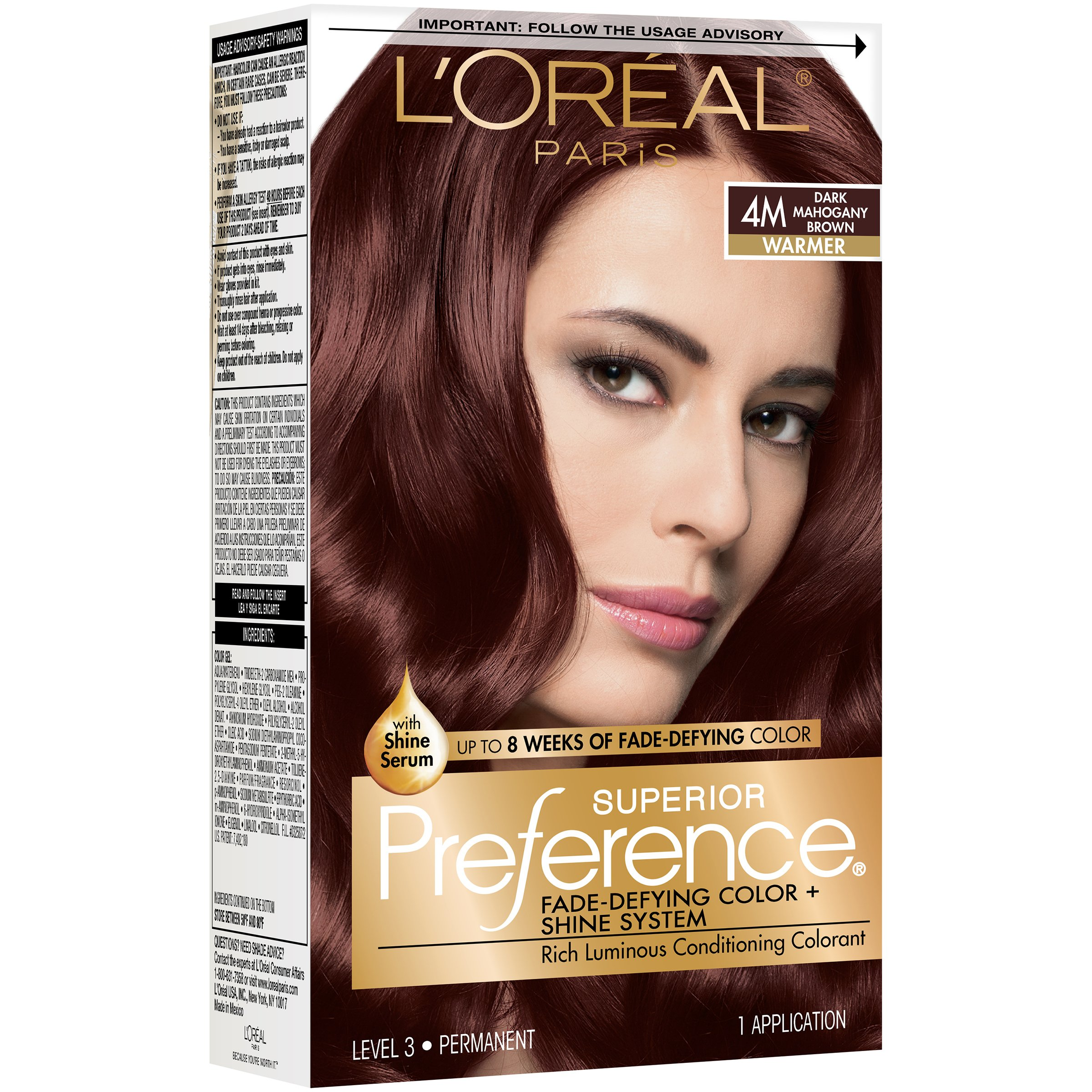 L Oreal Paris Superior Preference 4m Warmer Dark Mahogany Brown