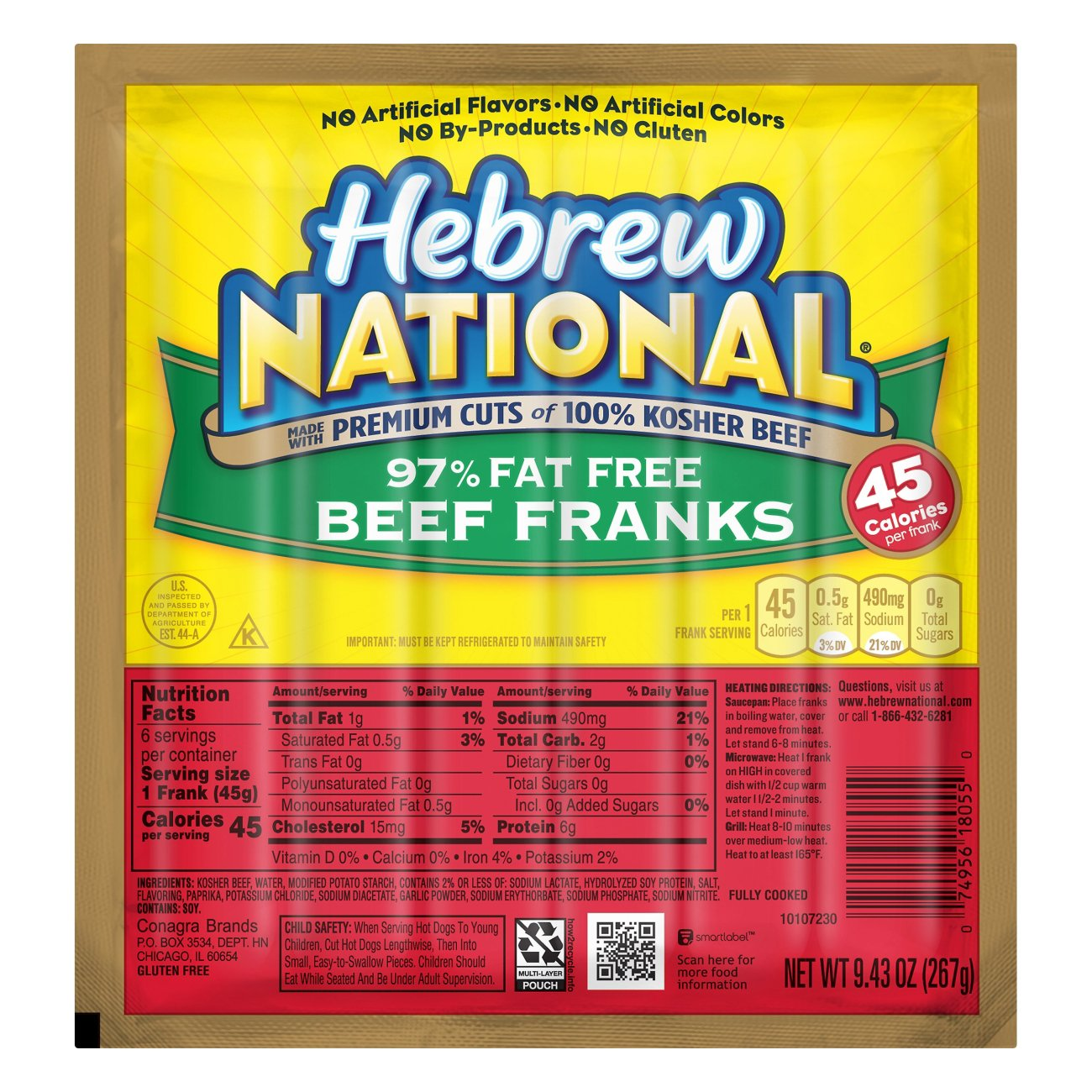 Hebrew National Beef Franks Fat Free Shop Hot Dogs at HEB