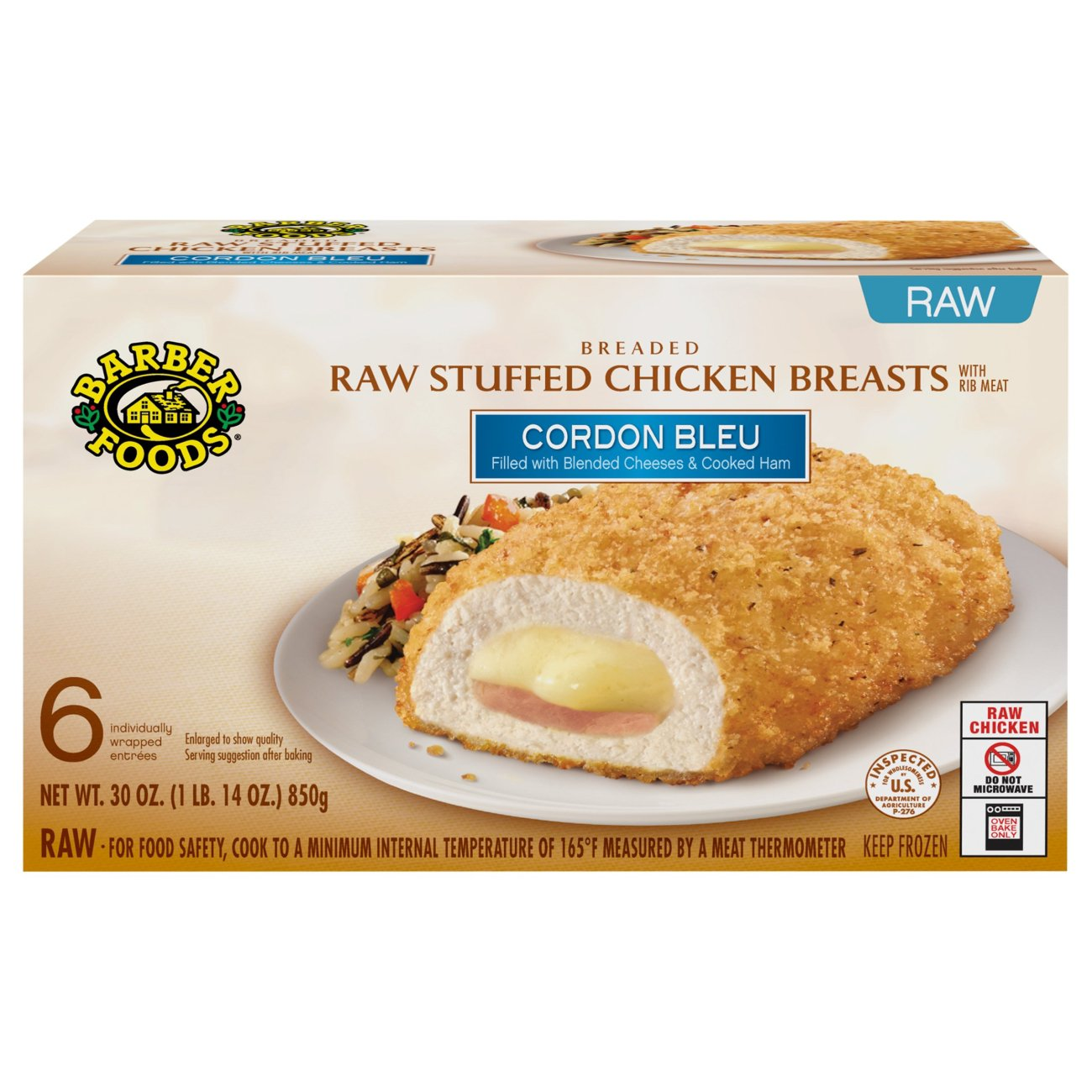 Barber Foods Breaded Raw Cordon Bleu Stuffed Chicken Breasts Shop Chicken At H E B