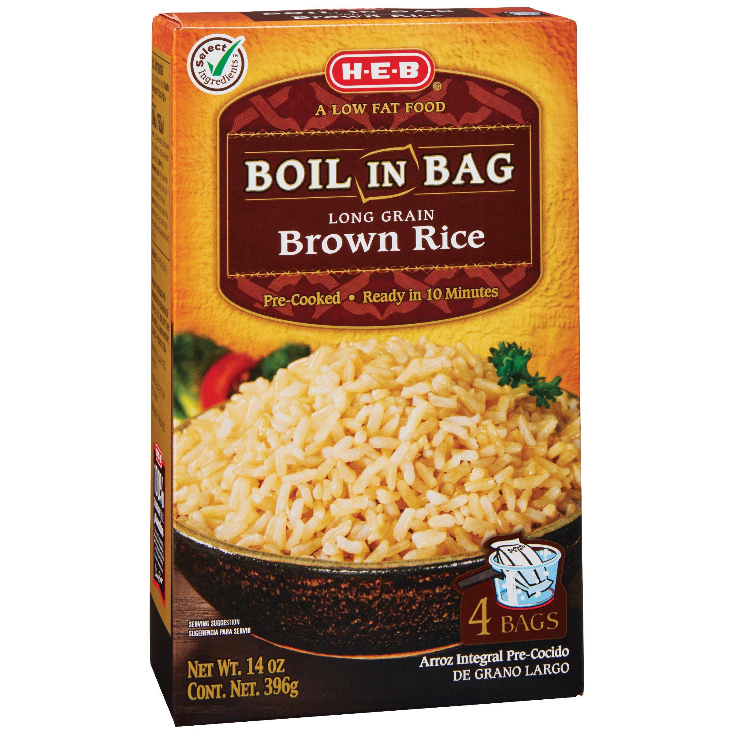 Heb Boil In Bag Long Grain Brown Rice Shop Rice Grains At Heb