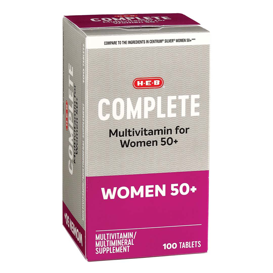 H E B Women S 50 Complete Multivitamin Multimineral Supplement Tablets Shop Multivitamins At H E B