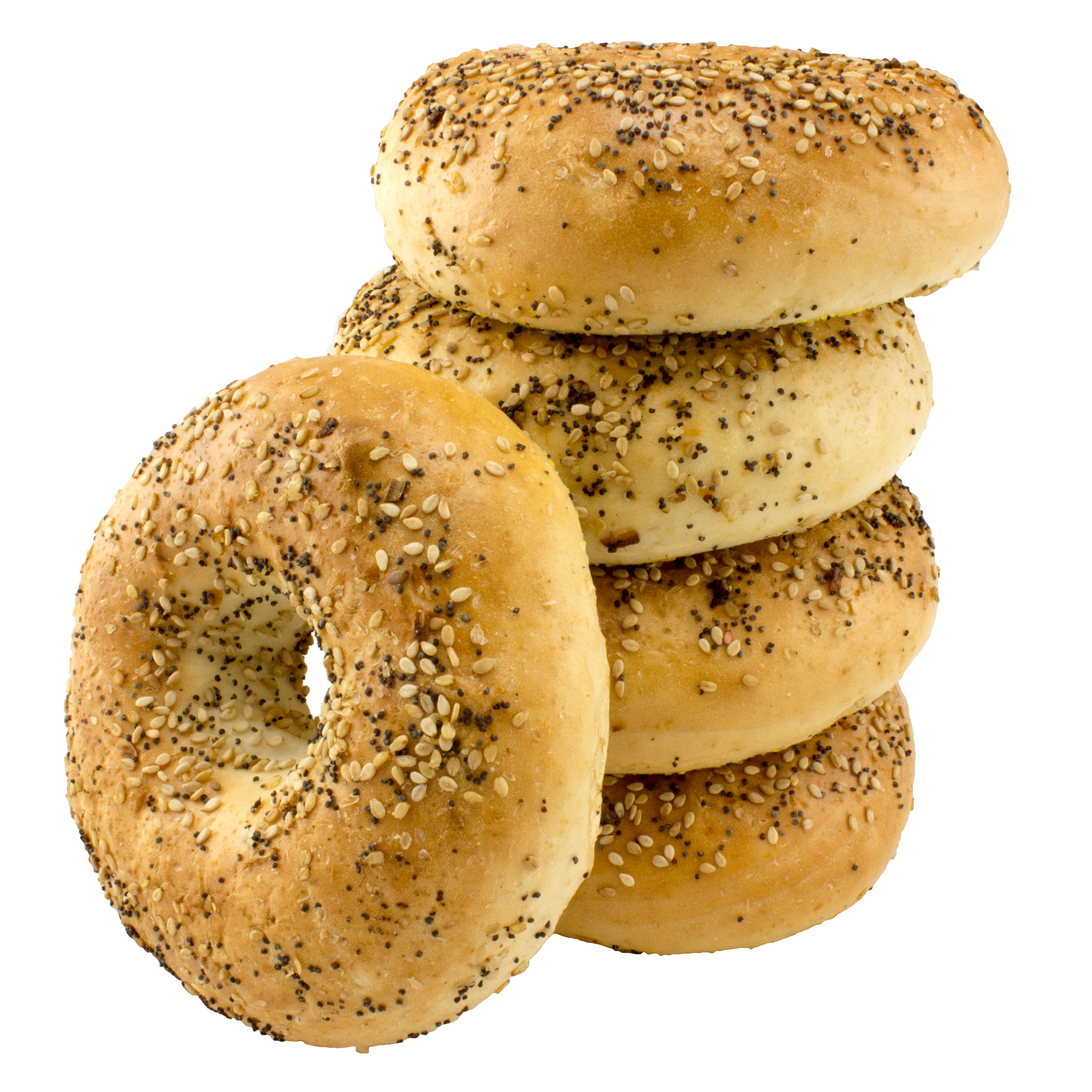 What are the total calories, fat and fiber in a hot dog bagel?