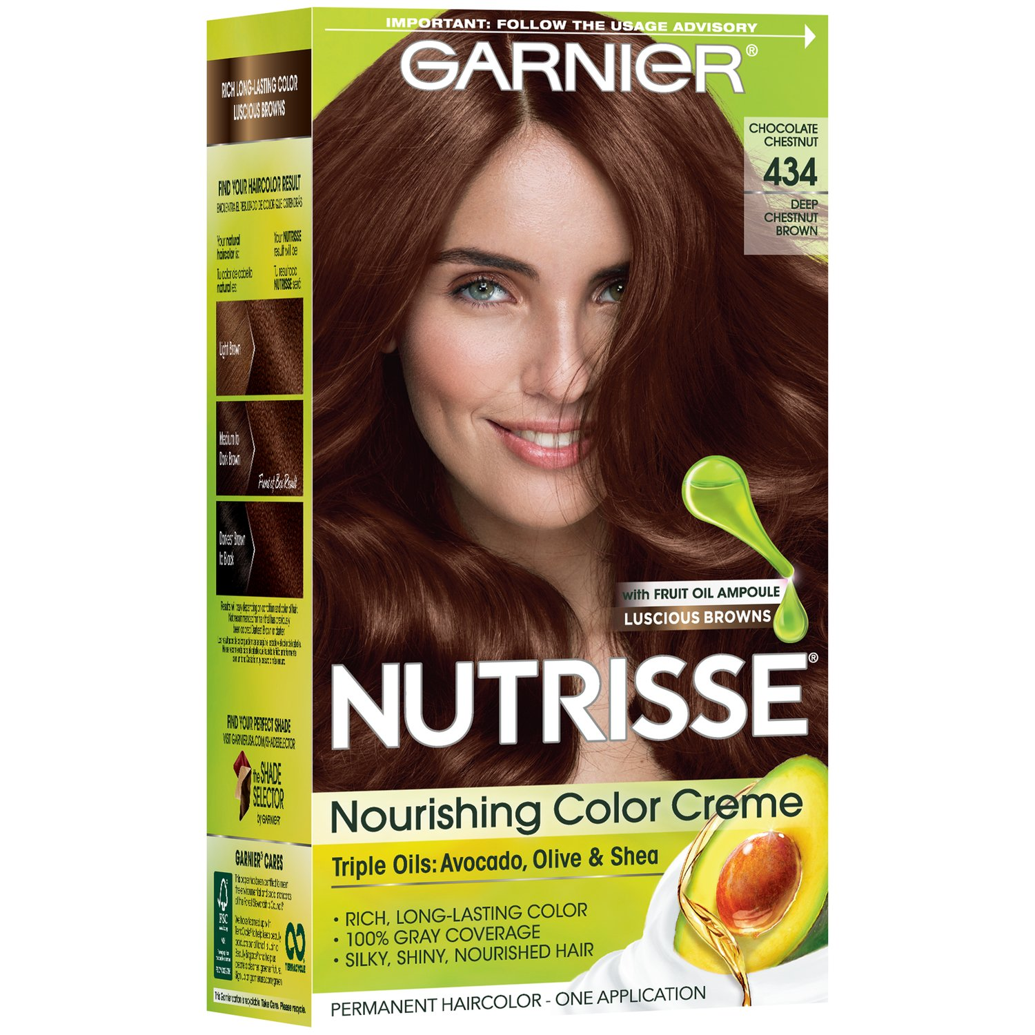 Garnier Nutrisse Nourishing Color Creme 434 Deep Chestnut Brown