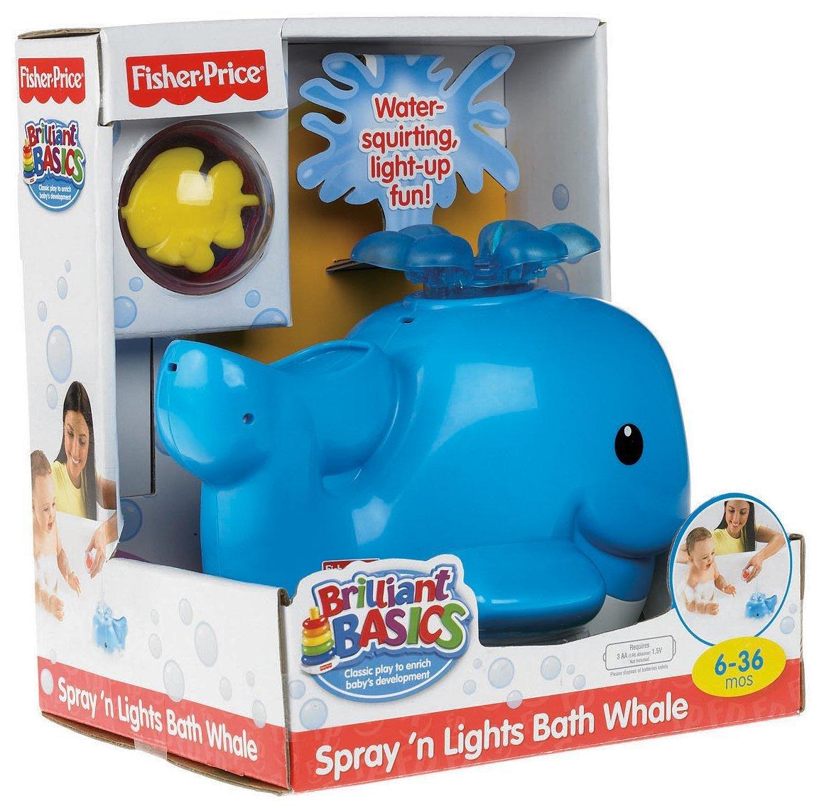 Fisher‑Price Brilliant Basics Spray \'n Lights Bath Whale (6‑36 ...