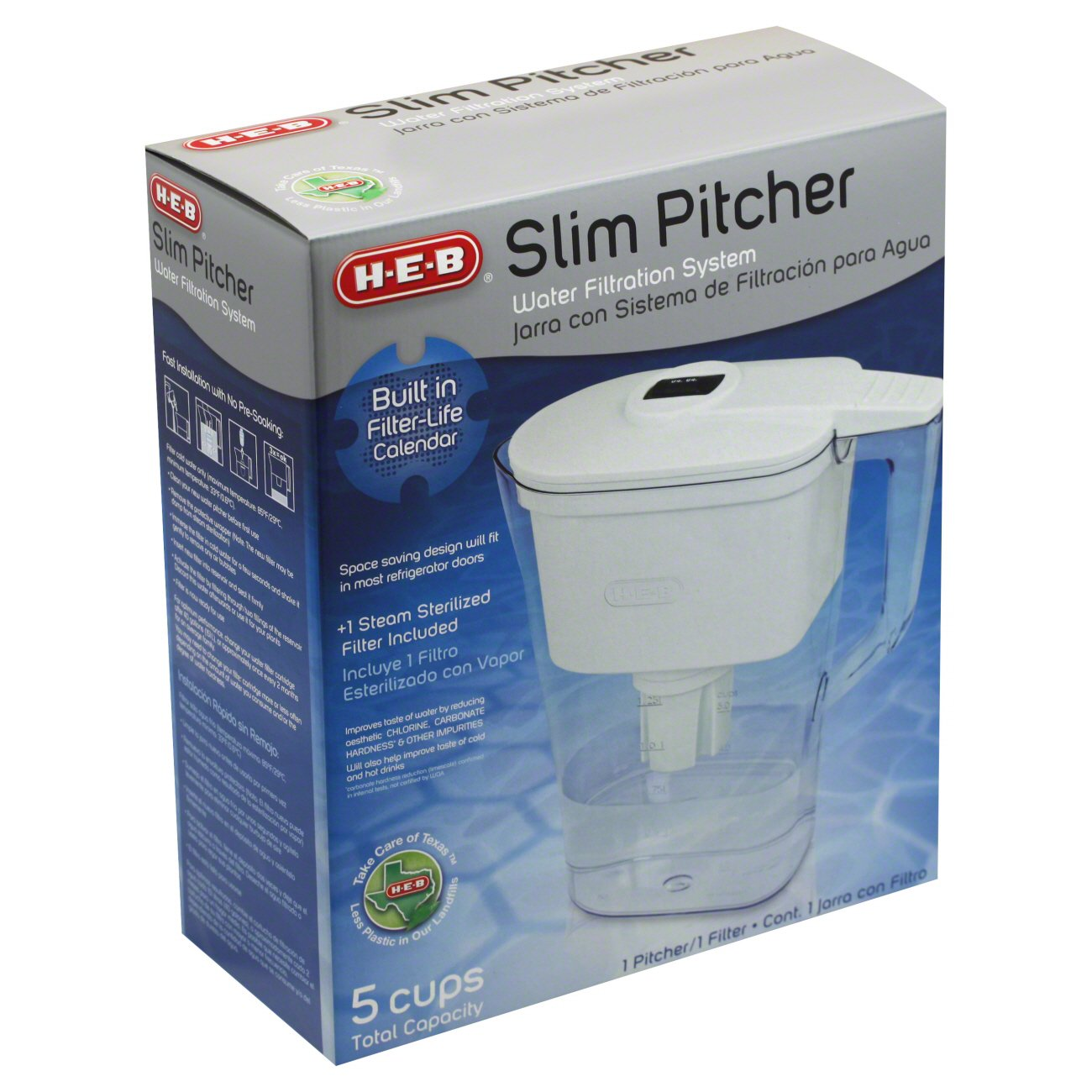 H‑E‑B 5‑Cup Slim Pitcher Water Filtration System ‑ Shop Water ...