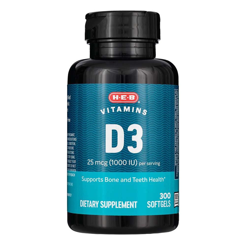 H E B Vitamin D3 1000 Iu Rapid Release Softgels Shop Vitamins A Z At H E B