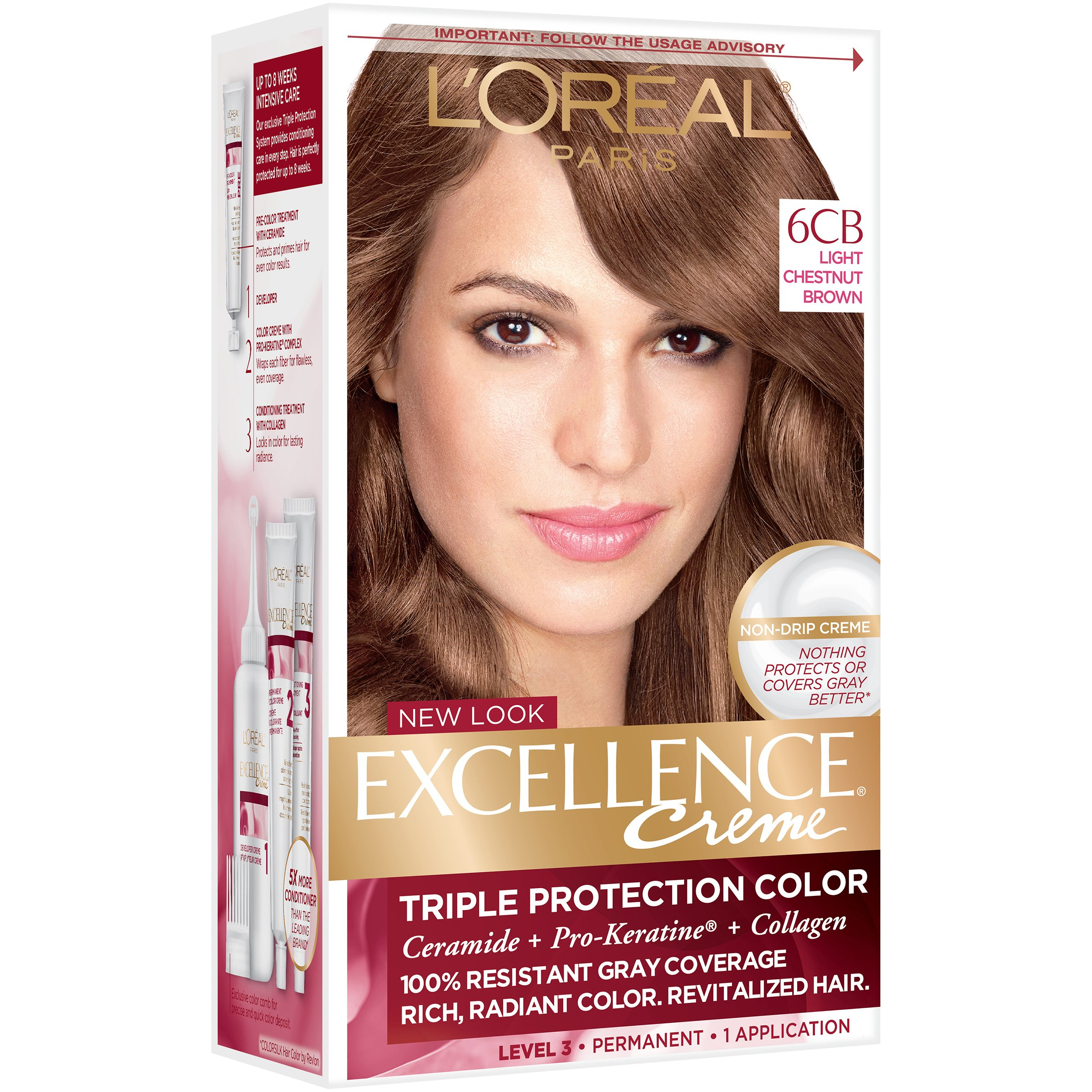 L Oreal Paris Excellence Creme 6cb Warmer Light Chestnut Brown Permanent Color Hair At Heb