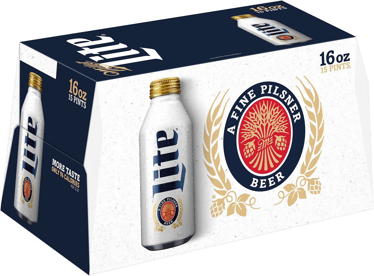 Miller Lite Beer 16 Oz Resealable Aluminum Bottles Shop Beer At H E B