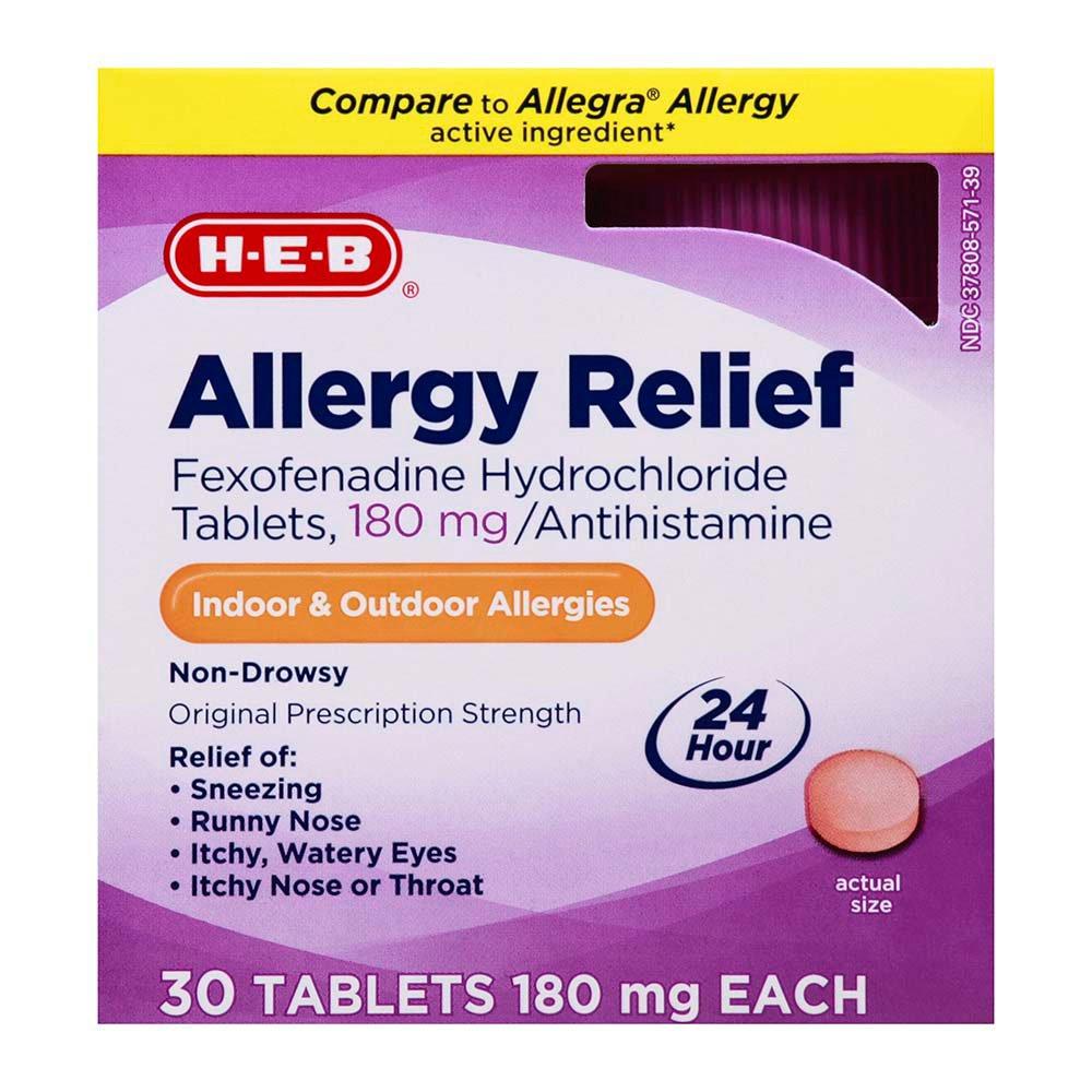 Fexofenadine hcl 180 mg 24 hour.doc - H E B Allergy Relief 24 Hour Fexofenadine 180 Mg Tablets Shop Allergy Medicine And Antihistamine At Heb