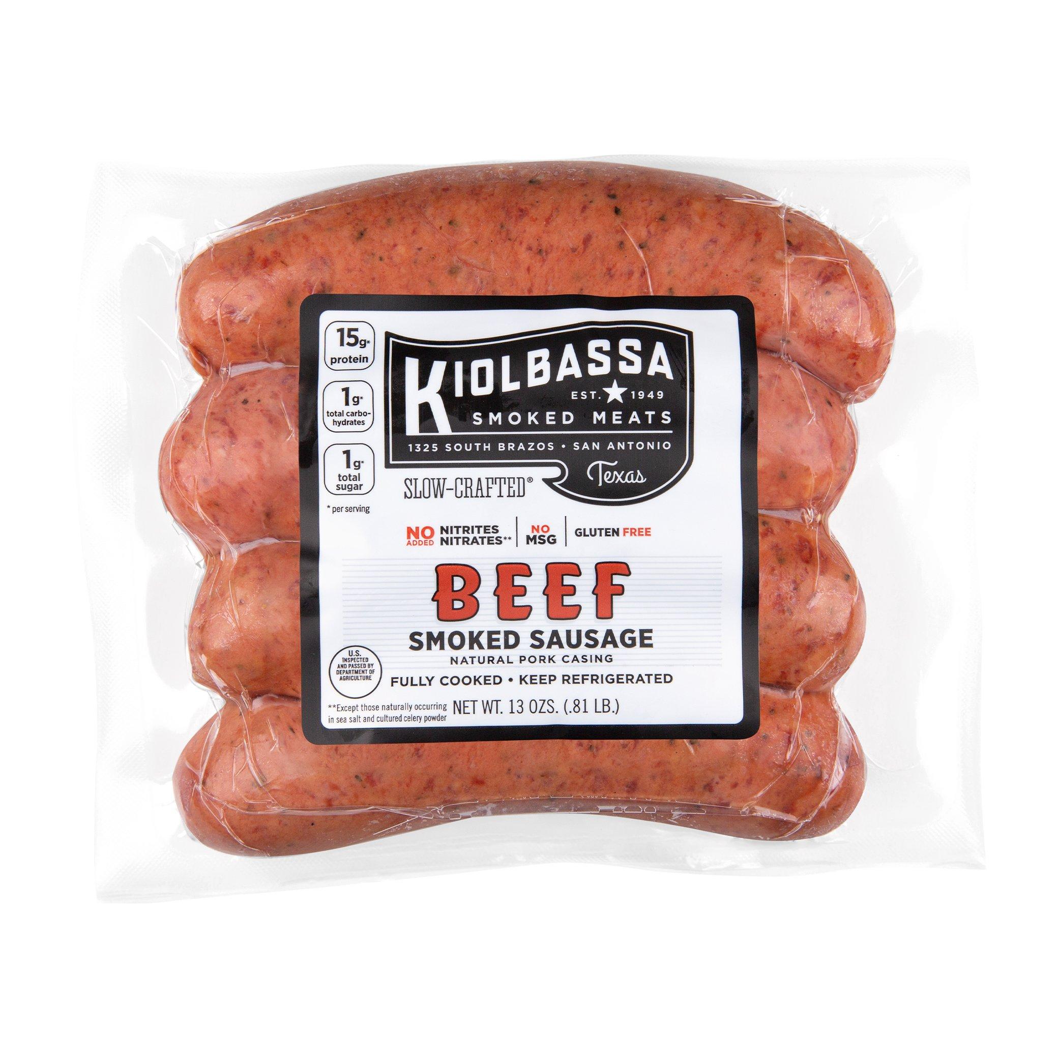 Kiolbassa All‑Natural Beef Smoked Sausage Links ‑ Shop Sausage at H‑E‑B