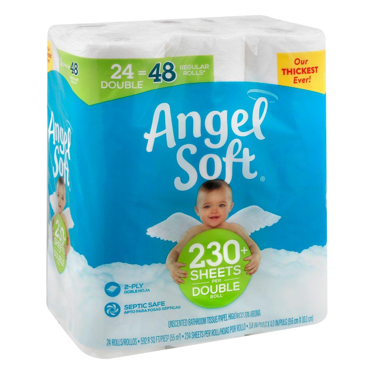 White Cloud Bathroom Tissue - Angel soft classic white bath tissue double rolls