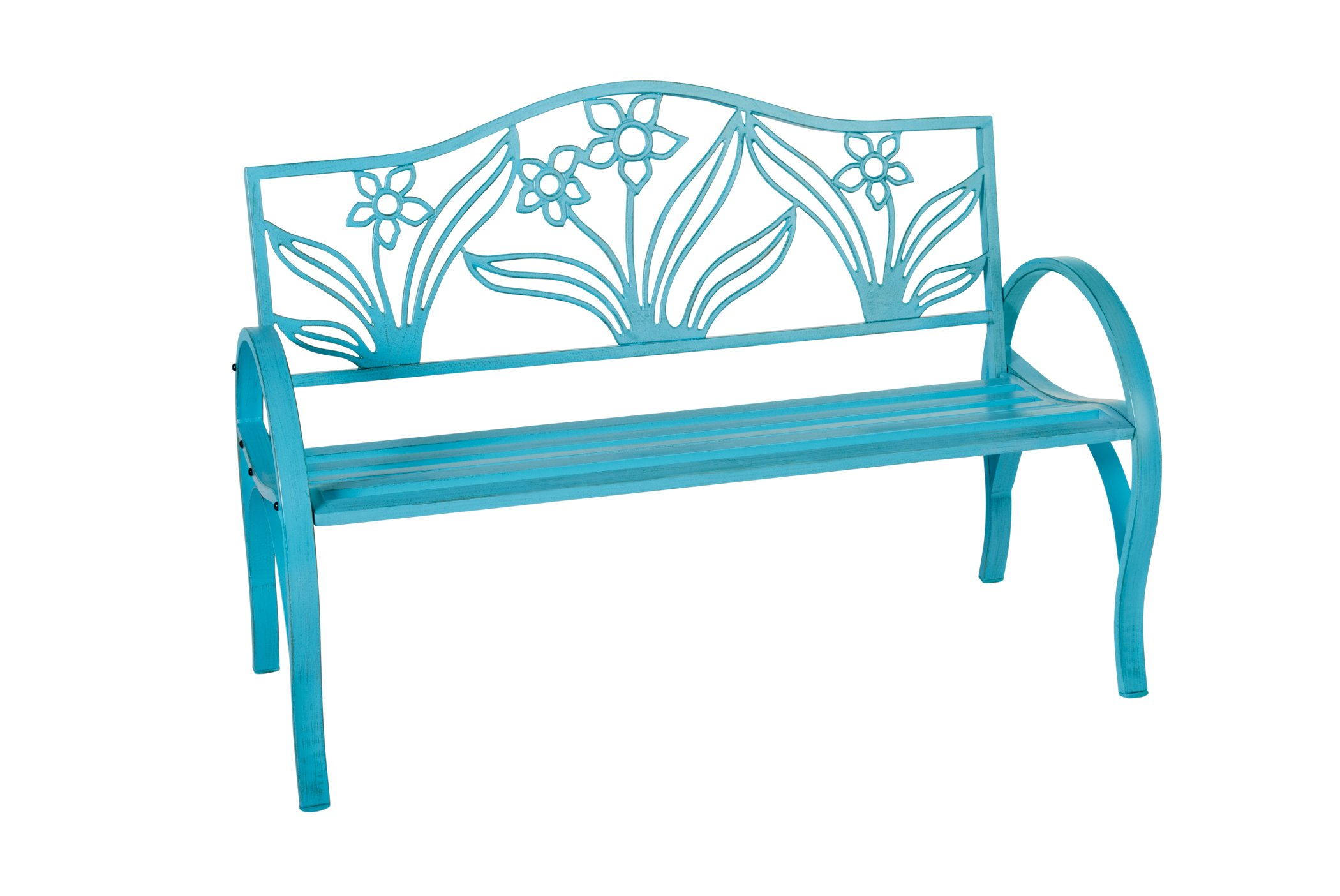 Outdoor Solutions Teal Flower Steel Park Bench Shop Furniture at HEB
