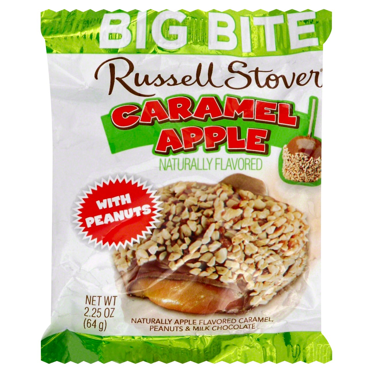 russell stover milk chocolate caramel apple big bite with peanuts