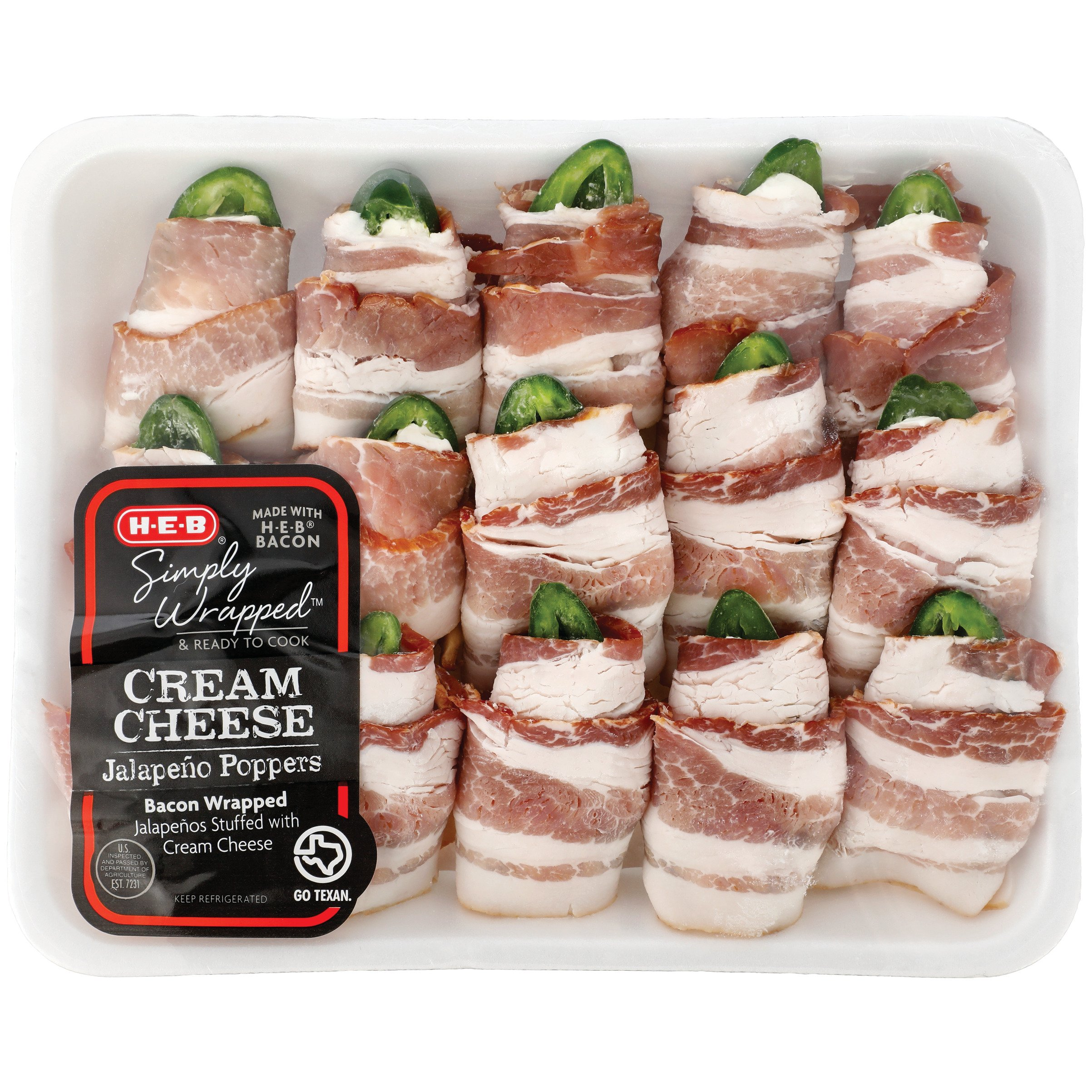 H‑e‑b Simply Wrapped Cream Cheese Jalapeno Poppers €� Value Pack €� Shop  Fajitas And Prepared Meats At Heb