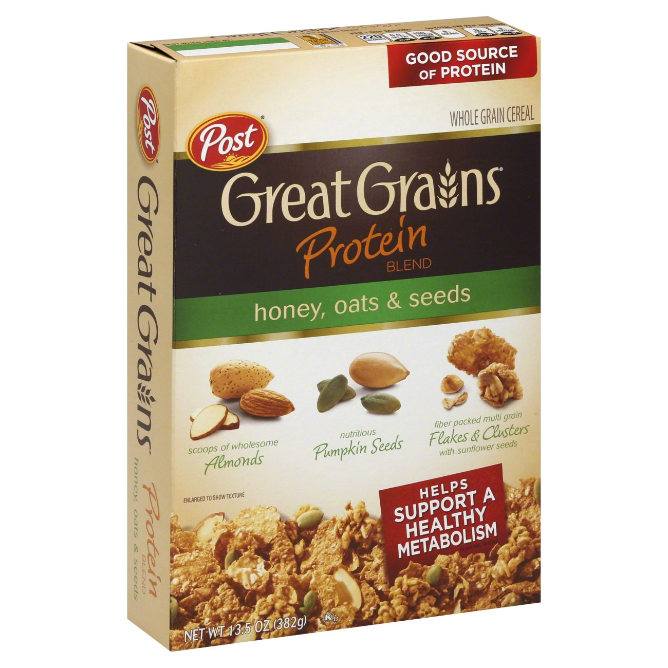 Post Great Grains Protein Blend Honey Oats And Seeds Whole