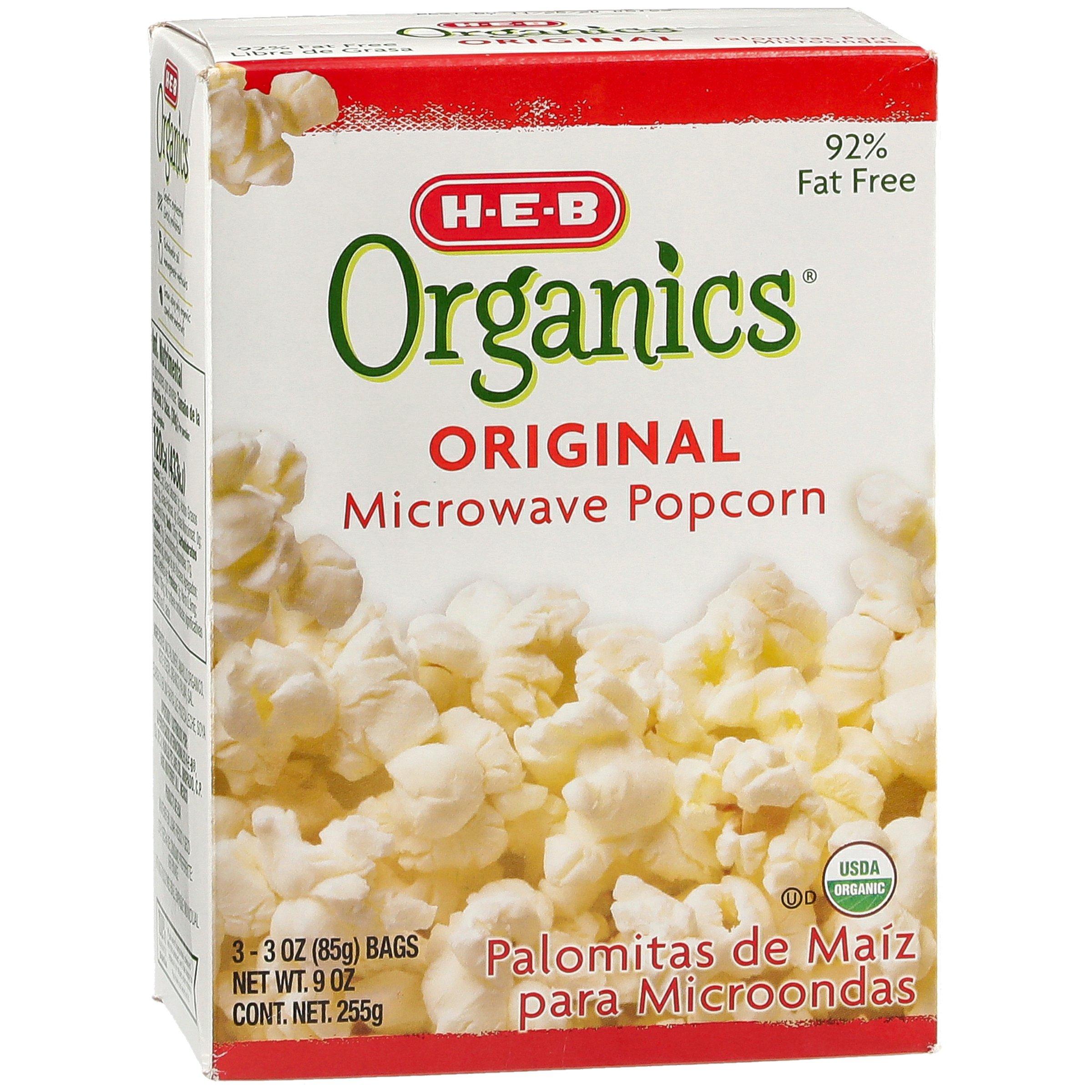 H E B Organics Original Microwave Popcorn Shop Popcorn At H E B
