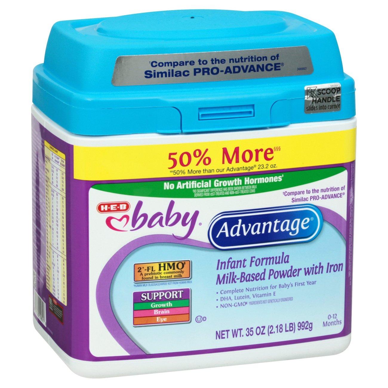 H‑E‑B Baby Advantage Infant Formula with Iron Milk‑Based Powder (0 ...
