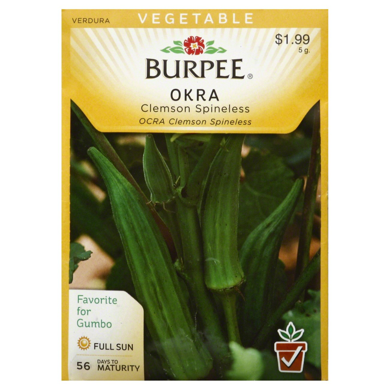 Burpee Okra Seeds Clemson Spineless Shop Plants And Trees At Heb