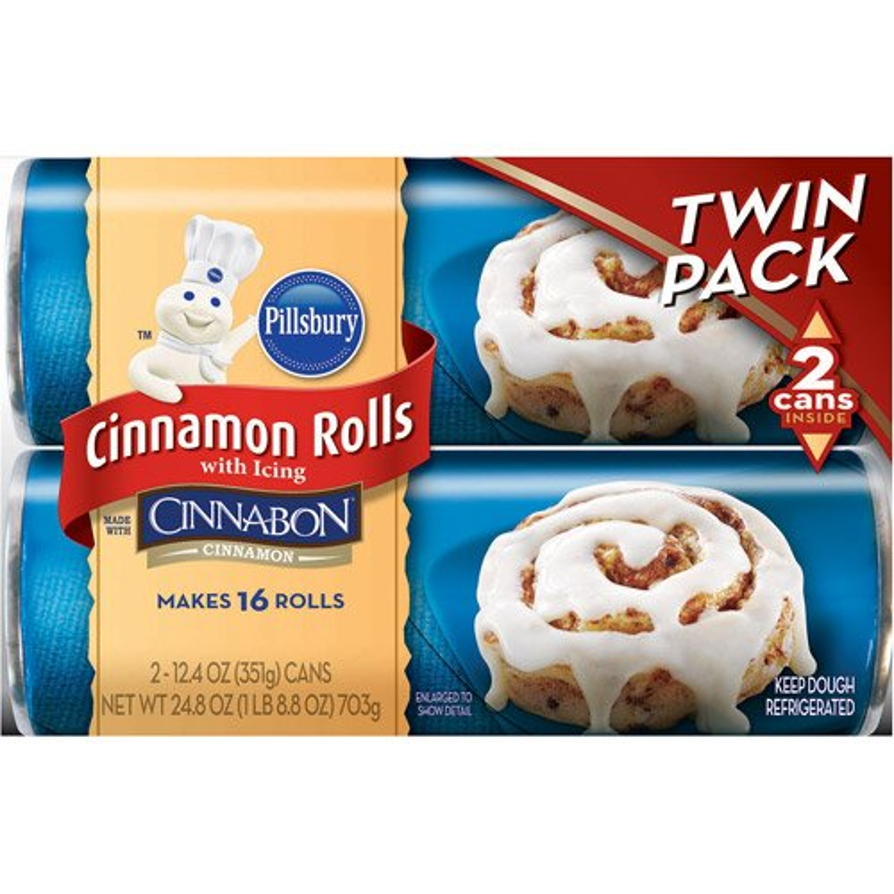Pillsbury Cinnamon Roll with Icing Twin