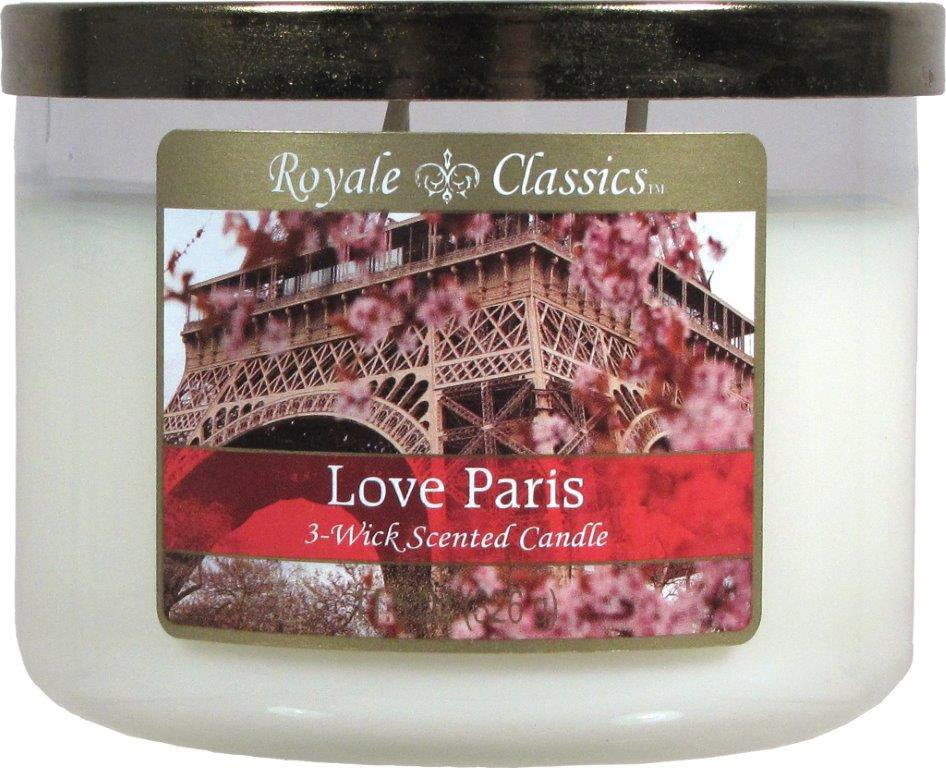 Multi Wick Candles Royale Classics Love Paris Scented 3 Wick Candle With Metal Lid
