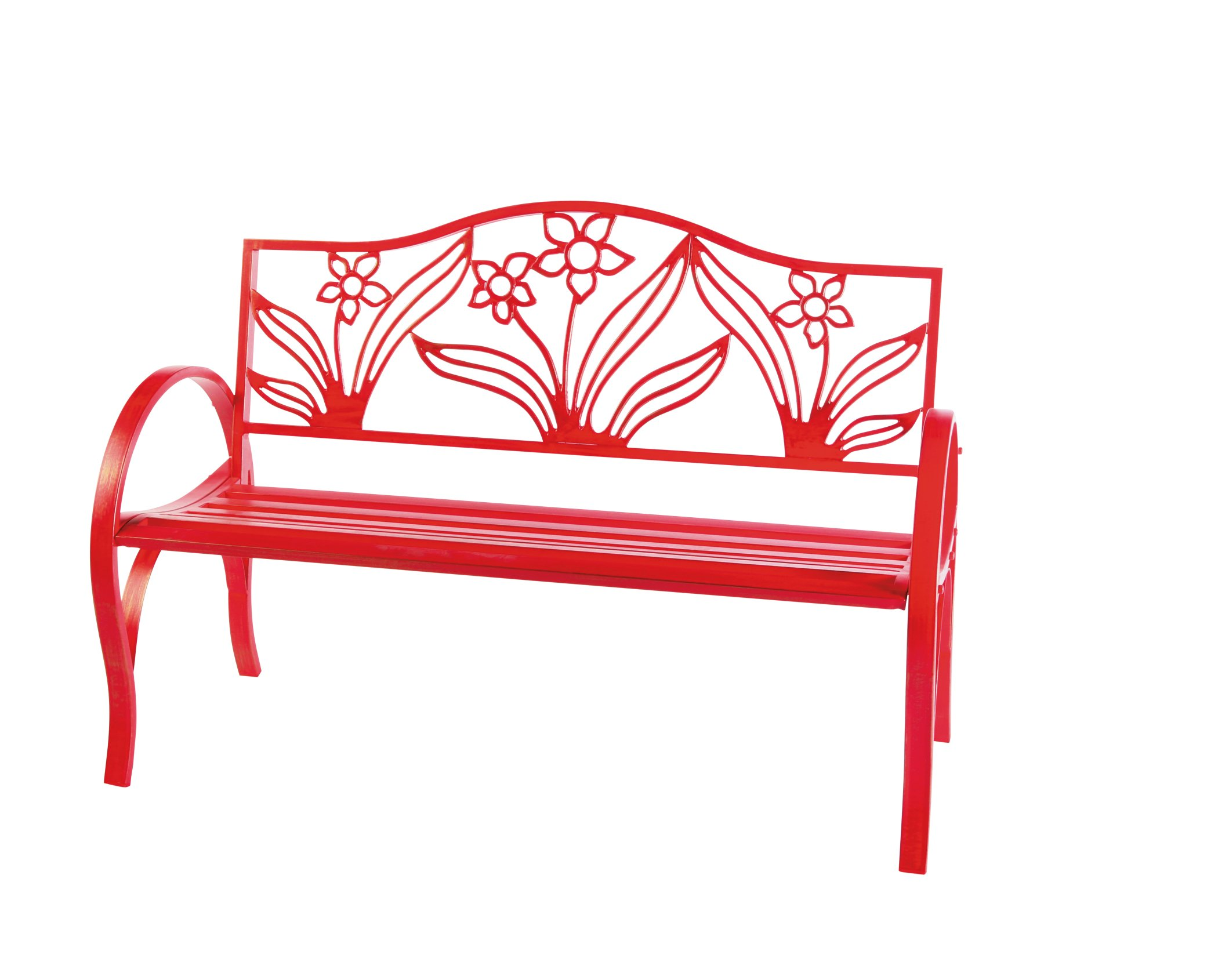 Outdoor Solutions Red Flower Bench Shop Furniture at HEB