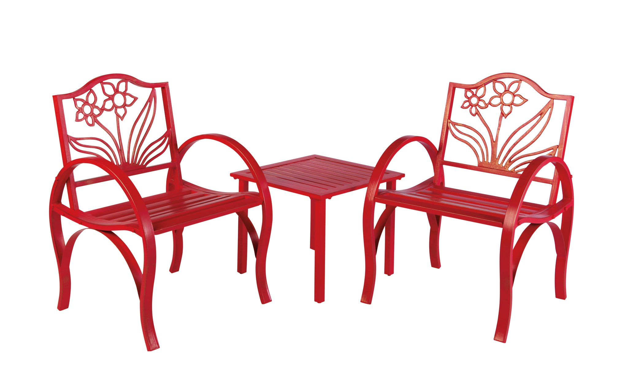 Outdoor Solutions Red Flower Bistro Set Shop Furniture at HEB