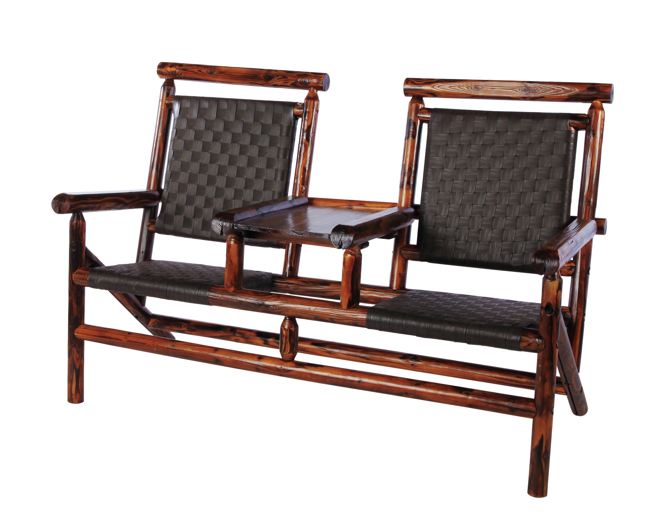 United General Supply Char Log Ranch Series Two Seater Rattan
