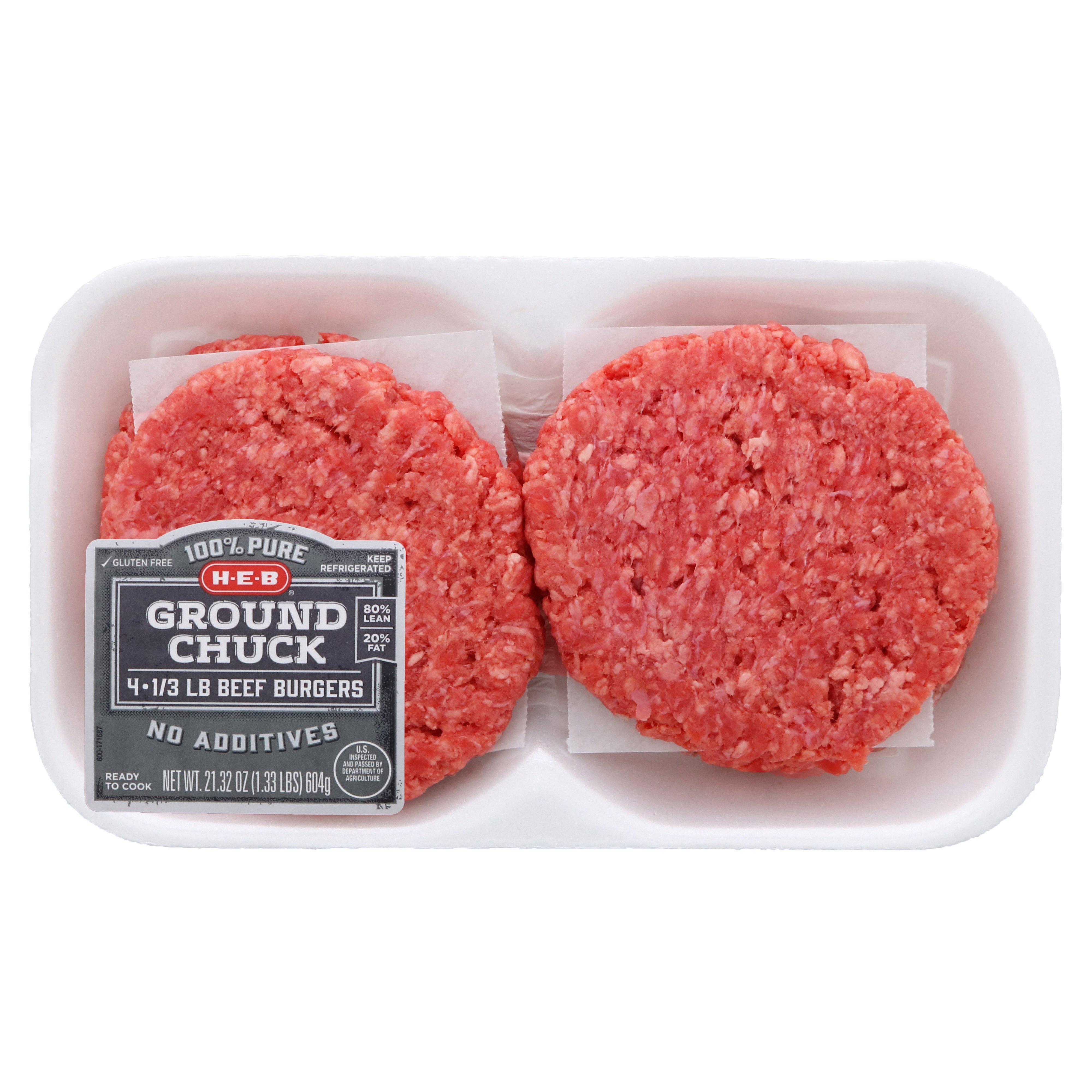 H E B Ground Chuck 1 3 Lb Beef Patties 80 Lean Shop Beef At H E B