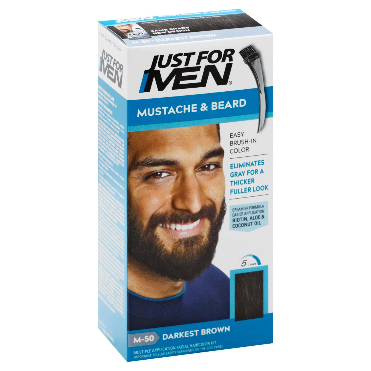 Just For Men Mustache & Beard Brush-In Color, Darkest Brown - Shop ...
