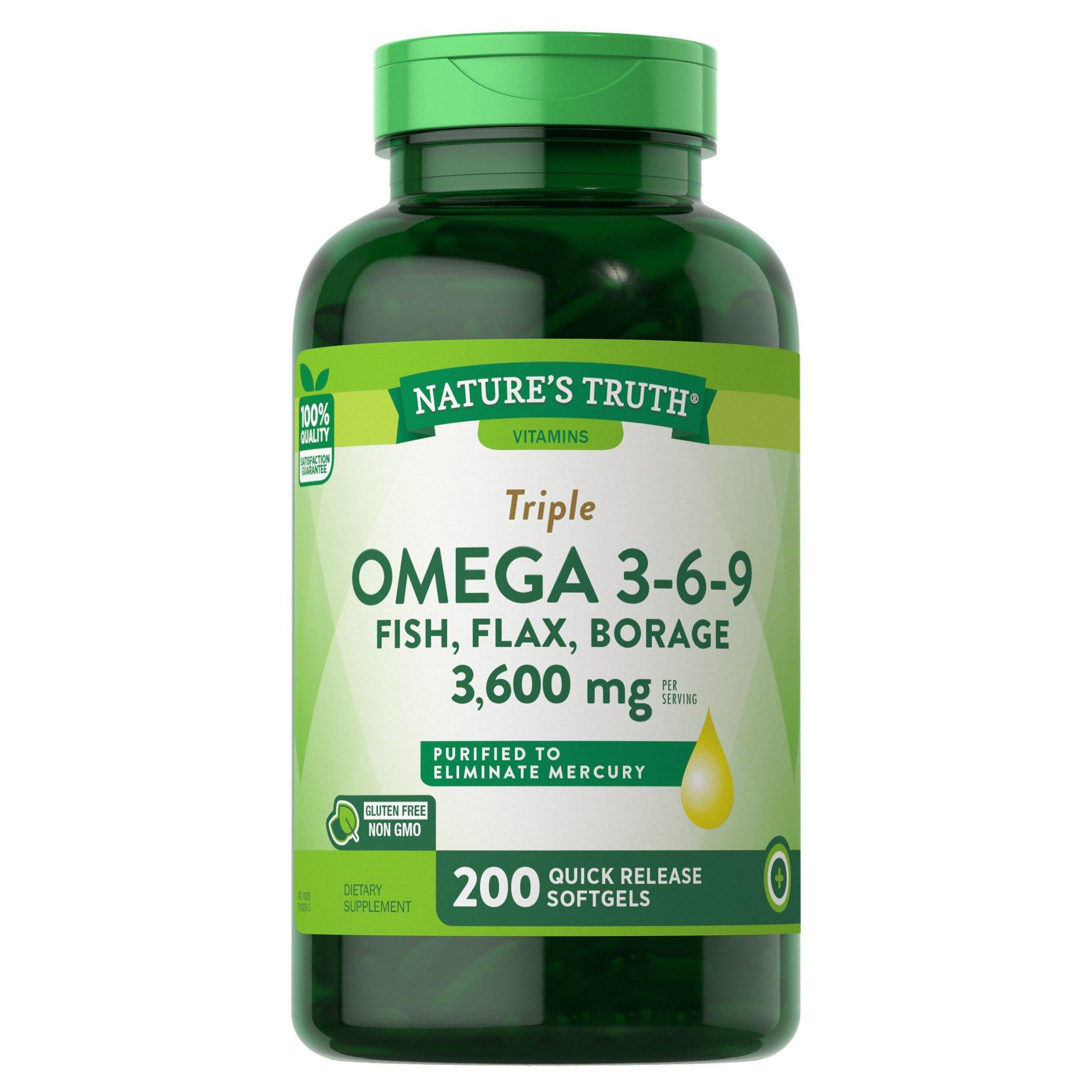 Nature S Truth Triple Omega 3 6 9 Fish Flax Borage 1200 Mg
